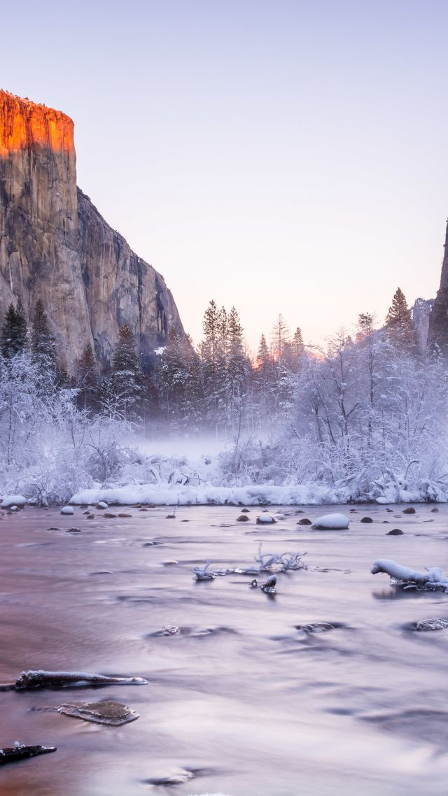 Yosemite, 5k, 4k wallpaper, National Park, California, USA, winter, tourism, travel, lake, mountain (vertical)