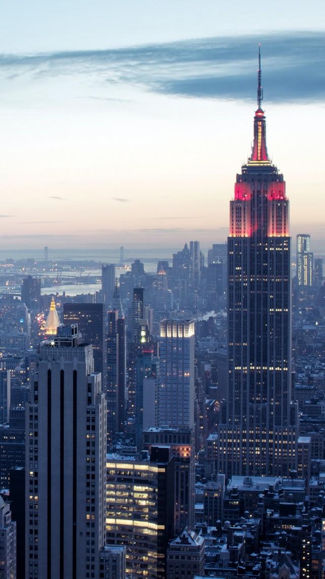 Wallpaper New York, Rockefeller Center, Sky, Sunrise