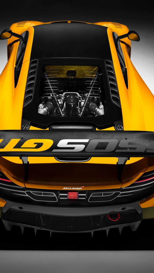 McLaren 650S GT3, Geneva International Motor Show 2016, sports car, yellow (vertical)