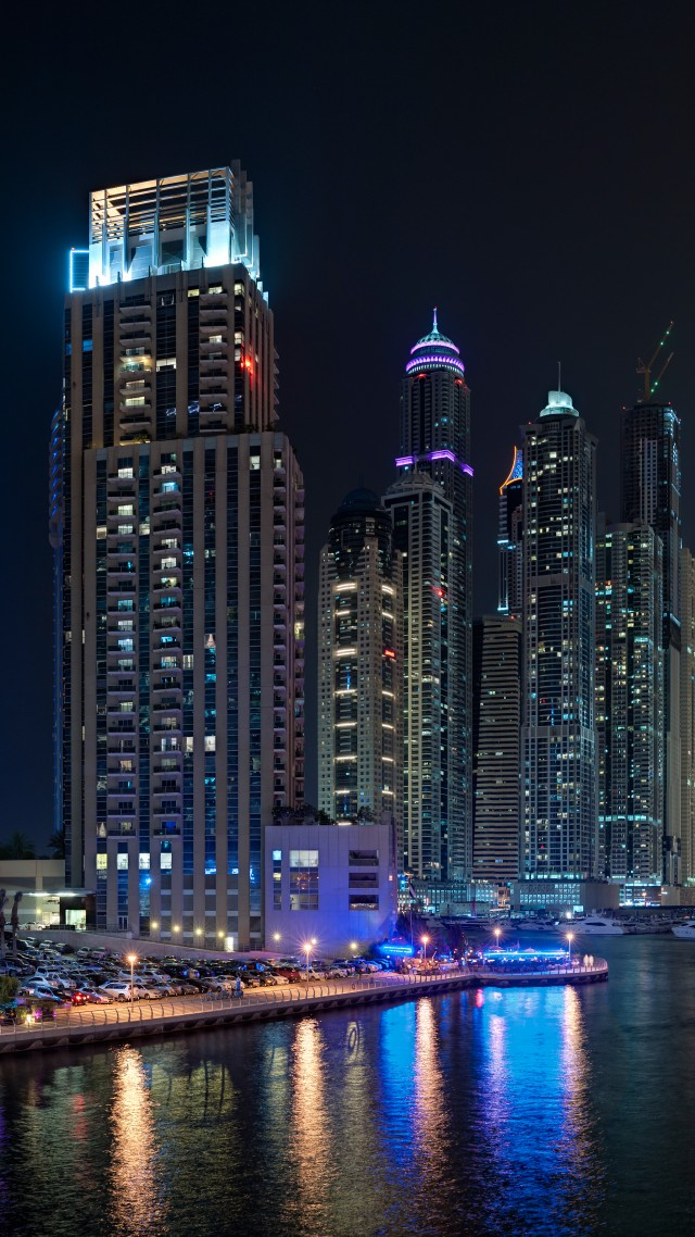 Dubai, Marina Yacth club, sea, lake, water, night, light, travel, booking, vacation, landscape (vertical)