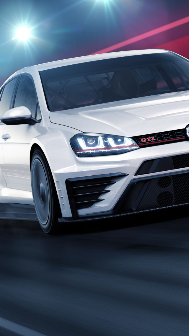 ... Volkswagen Golf GTI TCR, racecar, white (vertical)