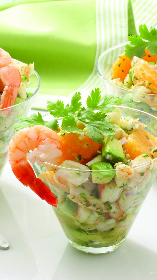 shrimp, mandarin, avocado, onions, greens, cooking, recipe (vertical)