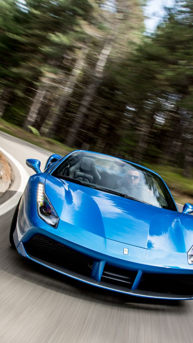 blue ferrari 488 spider cabriolet roadster blue - Ferrari 488 Iphone Wallpaper