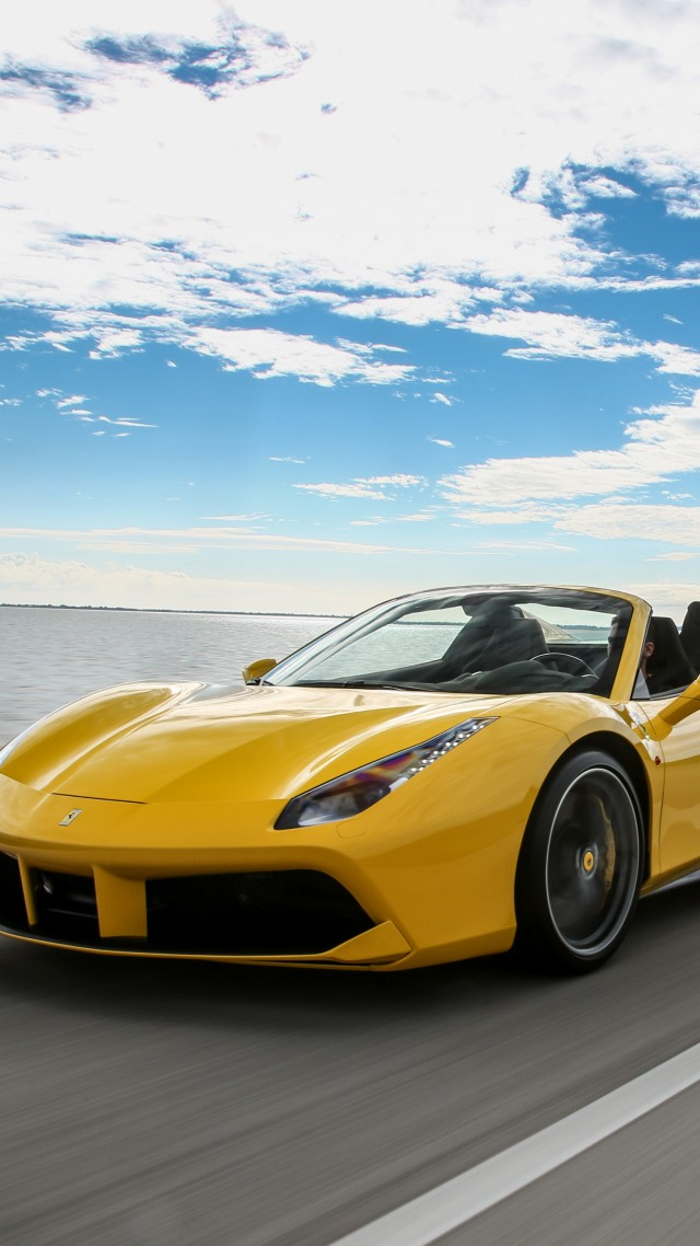 yellow ferrari 488 spider cabriolet roadster yellow - Ferrari 488 Iphone Wallpaper