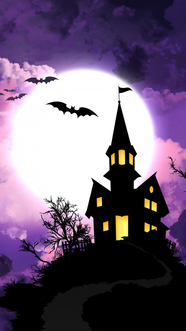 Halloween, All Hallows' Eve, All Saints' Eve, night, hill, bats, full moon,  (vertical)