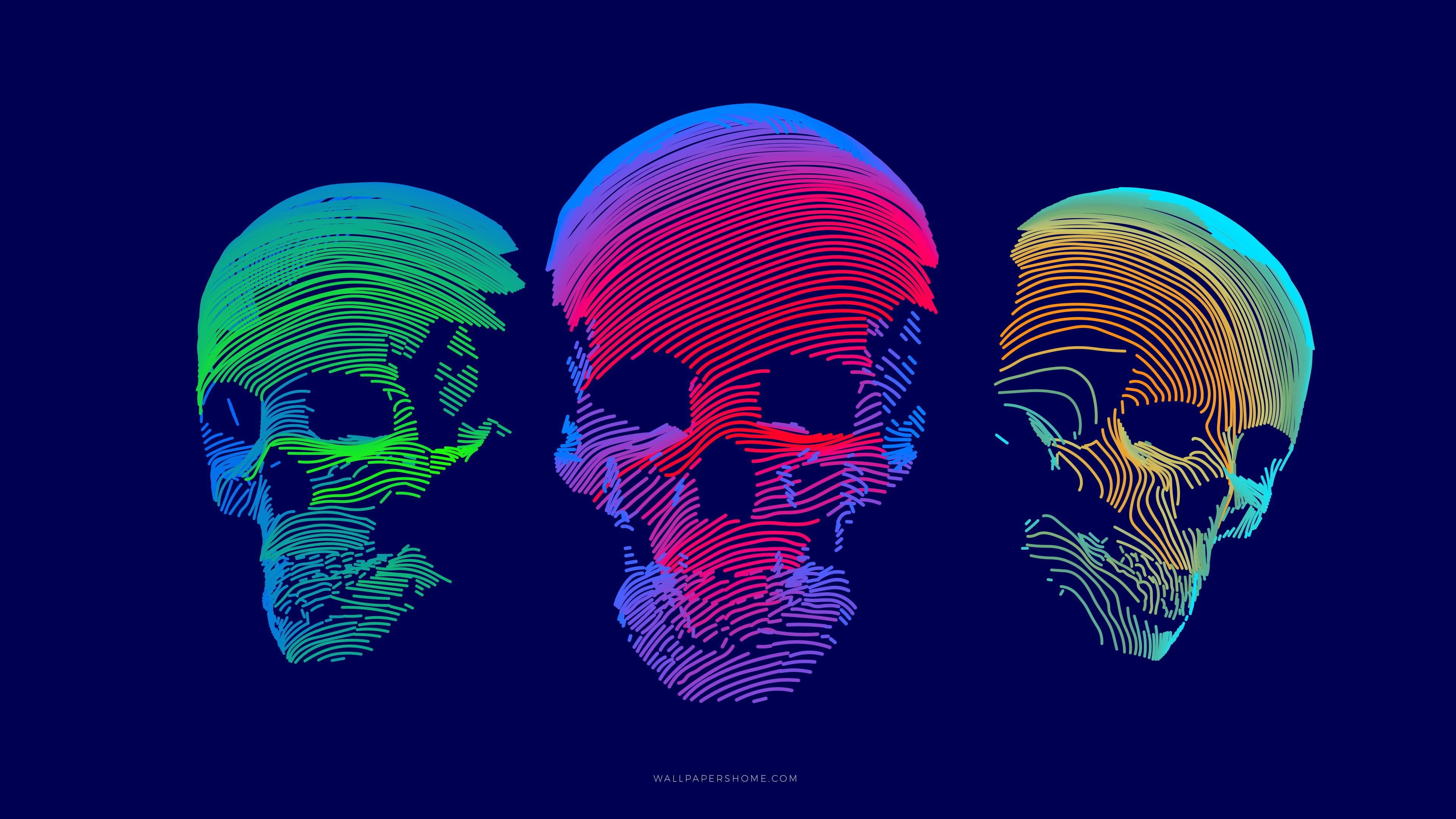 Wallpaper Abstract 3d Colorful Skull 8k Abstract 21287