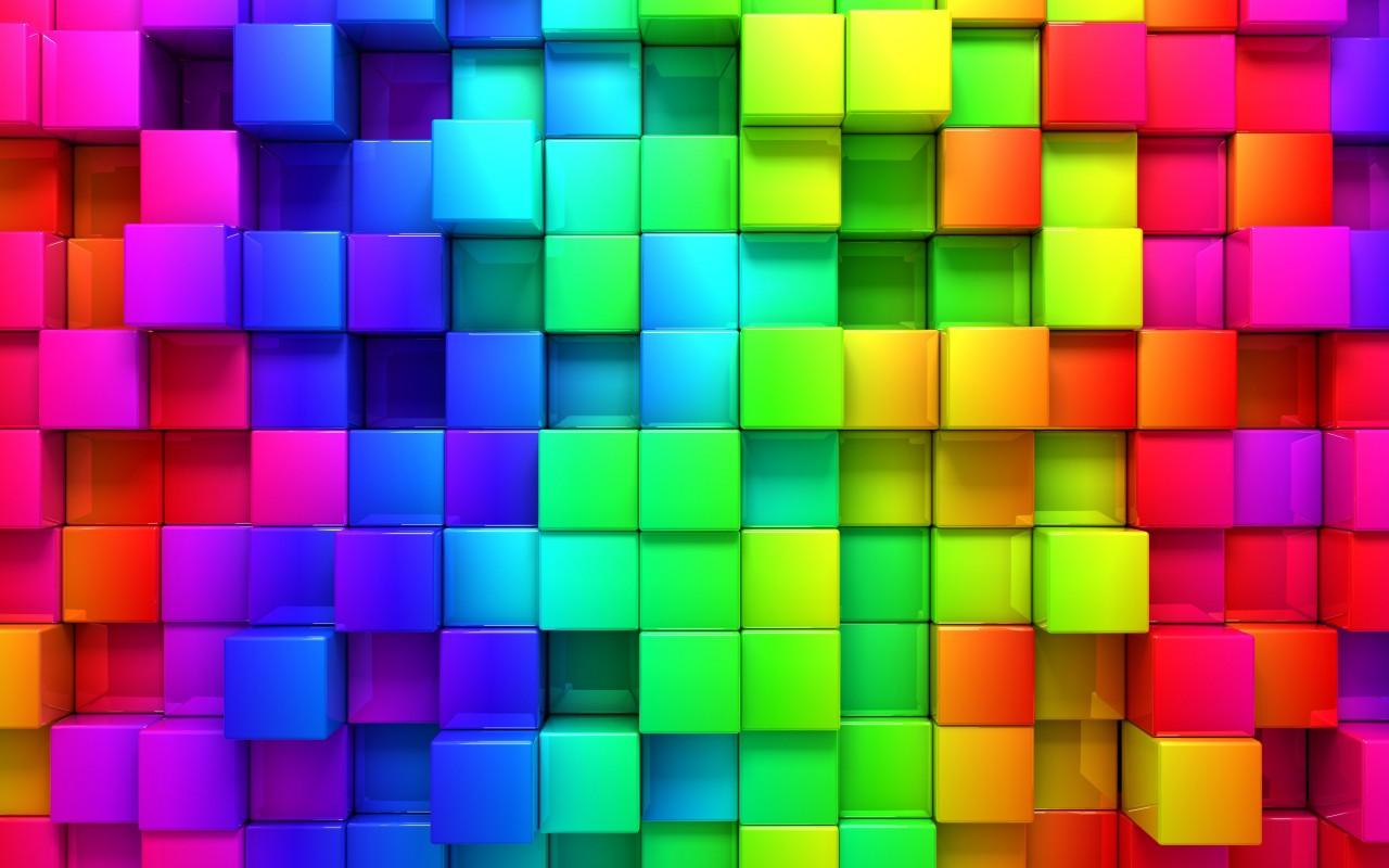 abstrakt wallpaper 1280x800 cube blocks 3d rainbow abstract 12523