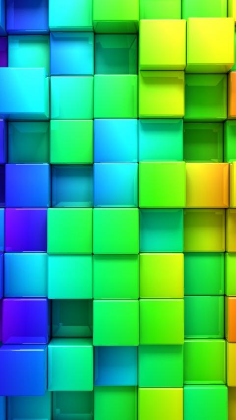 abstrakt wallpaper 480x854 cube blocks 3d rainbow abstract 12523