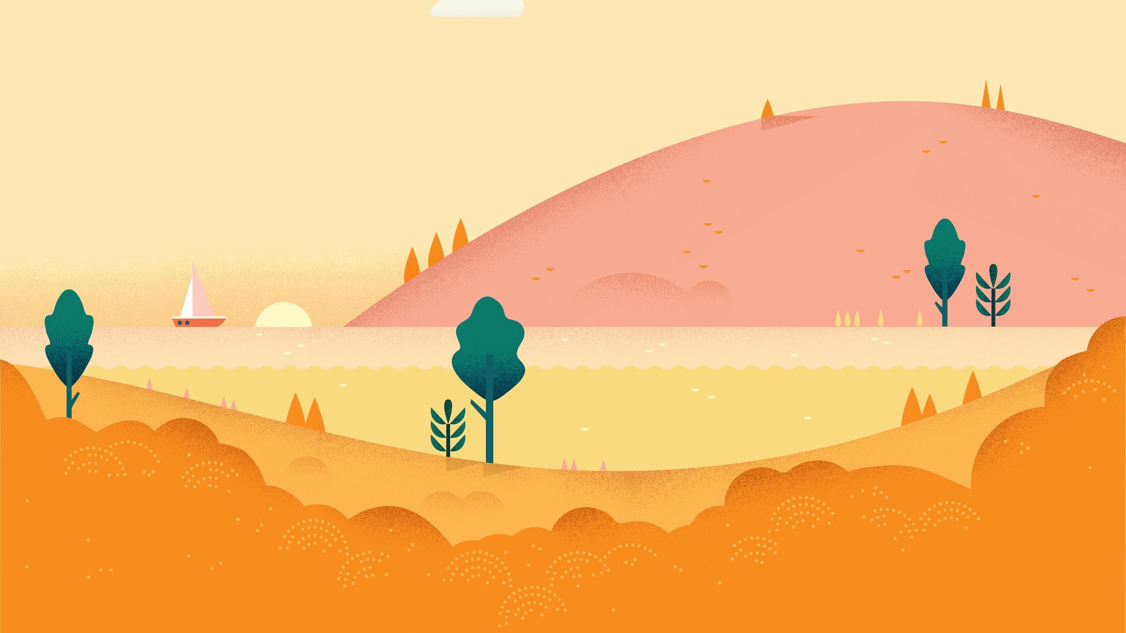 android 3840x2160 5k 4k hd wallpaper pattern landscape orange yellow 3431