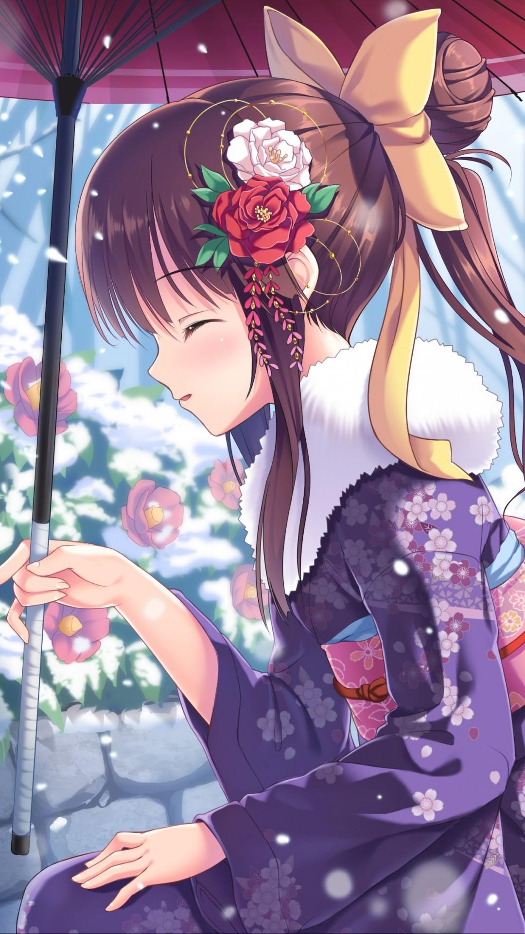 Wallpaper Anime Girl Beauty Winter Rabbits Snow 4k
