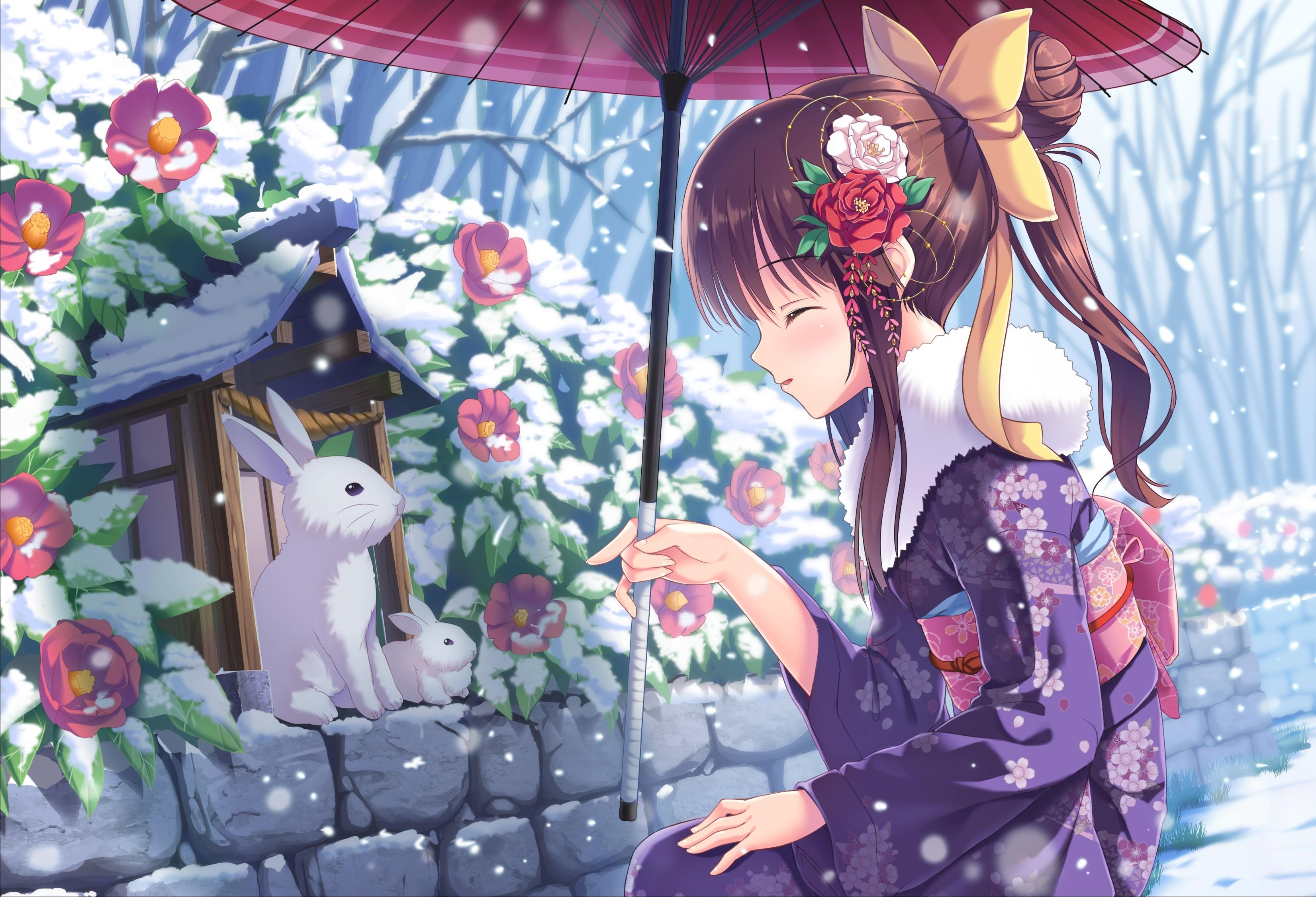 wallpaper anime, girl, hot, winter, rabbits, snow, 4k, art #16659
