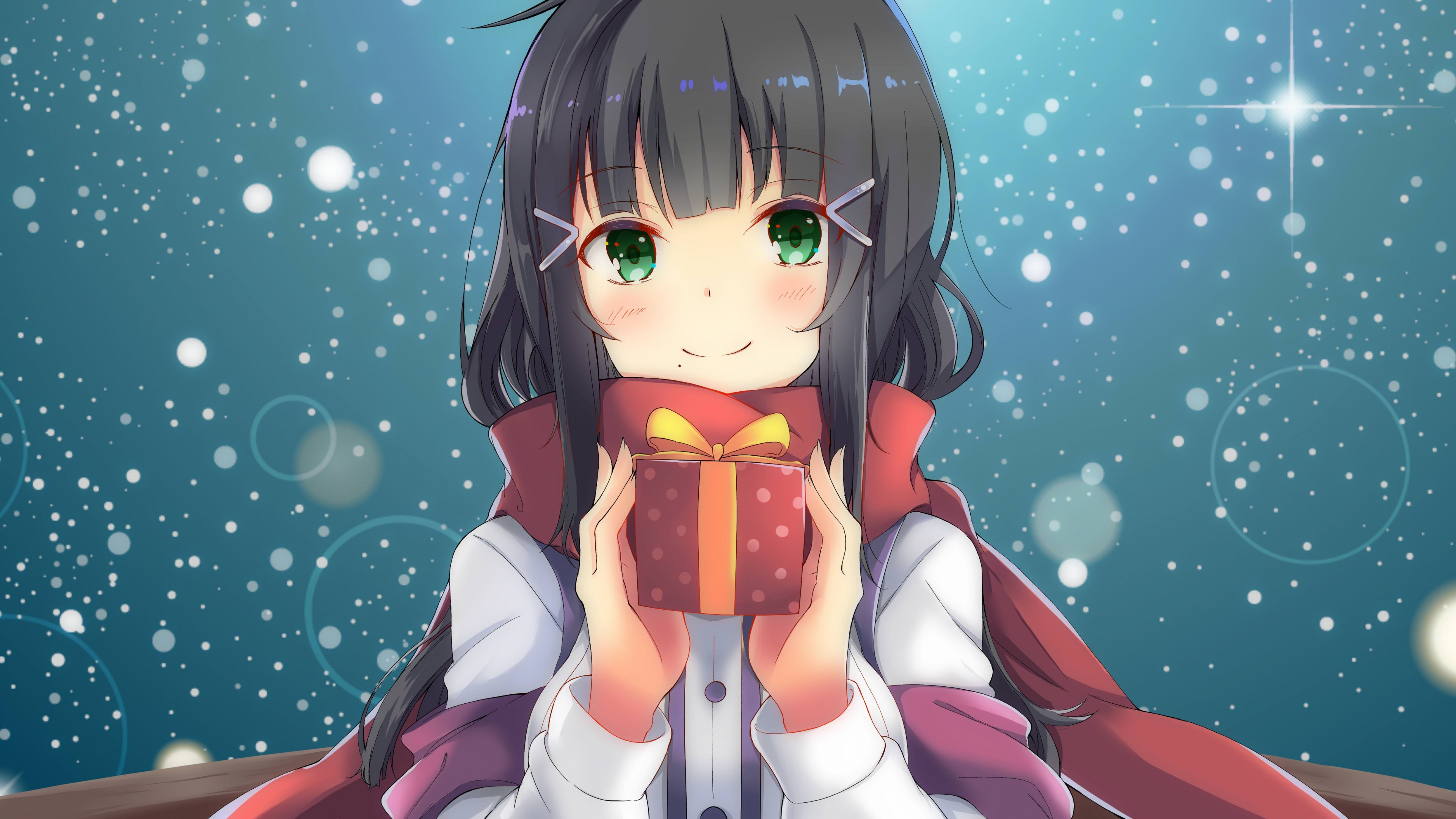 Wallpaper anime, girl, beauty, Christmas, New Year, 4k, Art #16924