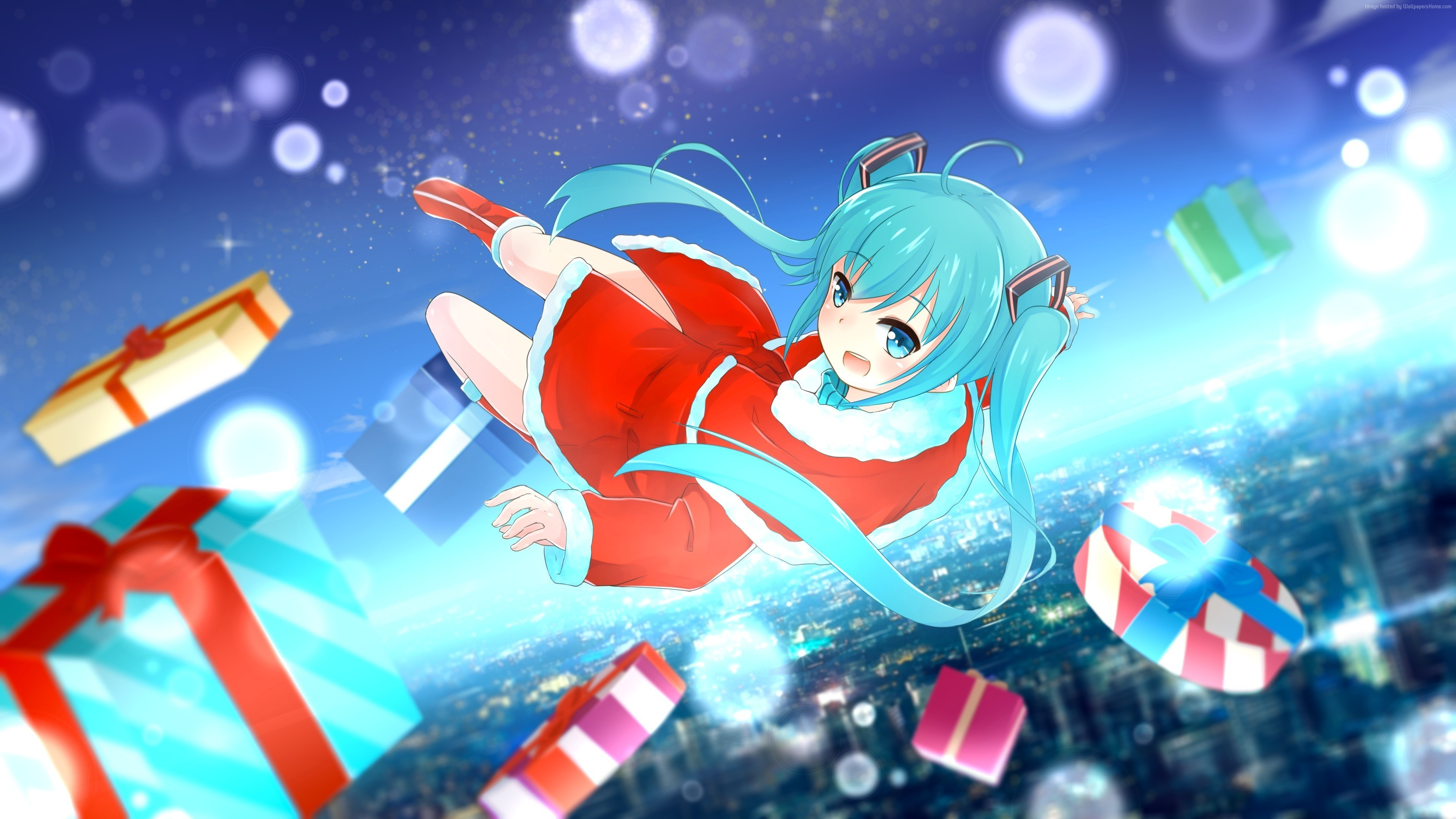 Wallpaper anime, girl, hot, Christmas, New Year, 4k, Art #16584