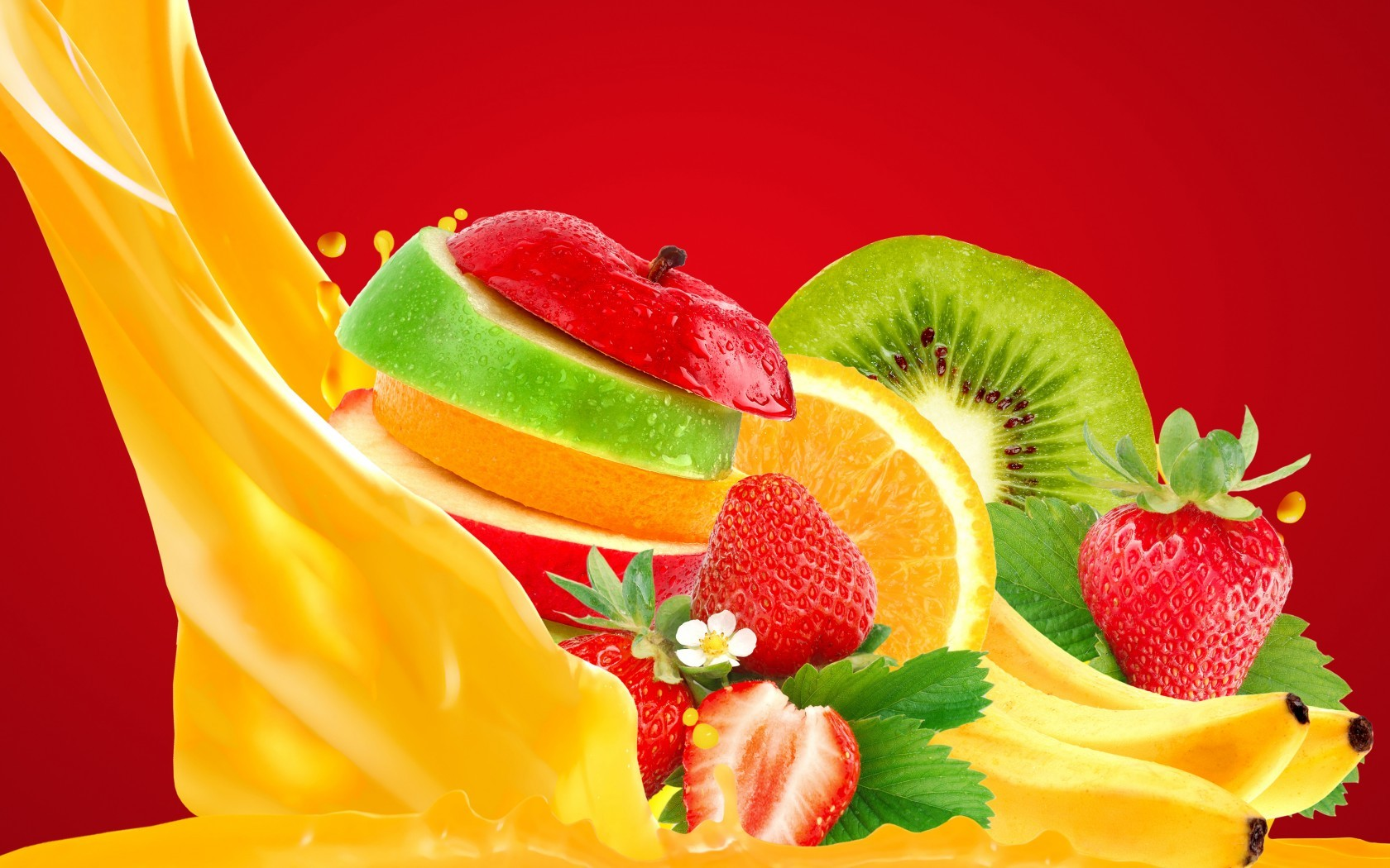 Wallpaper Apple Banana Strawberry Orange Juice Food 812