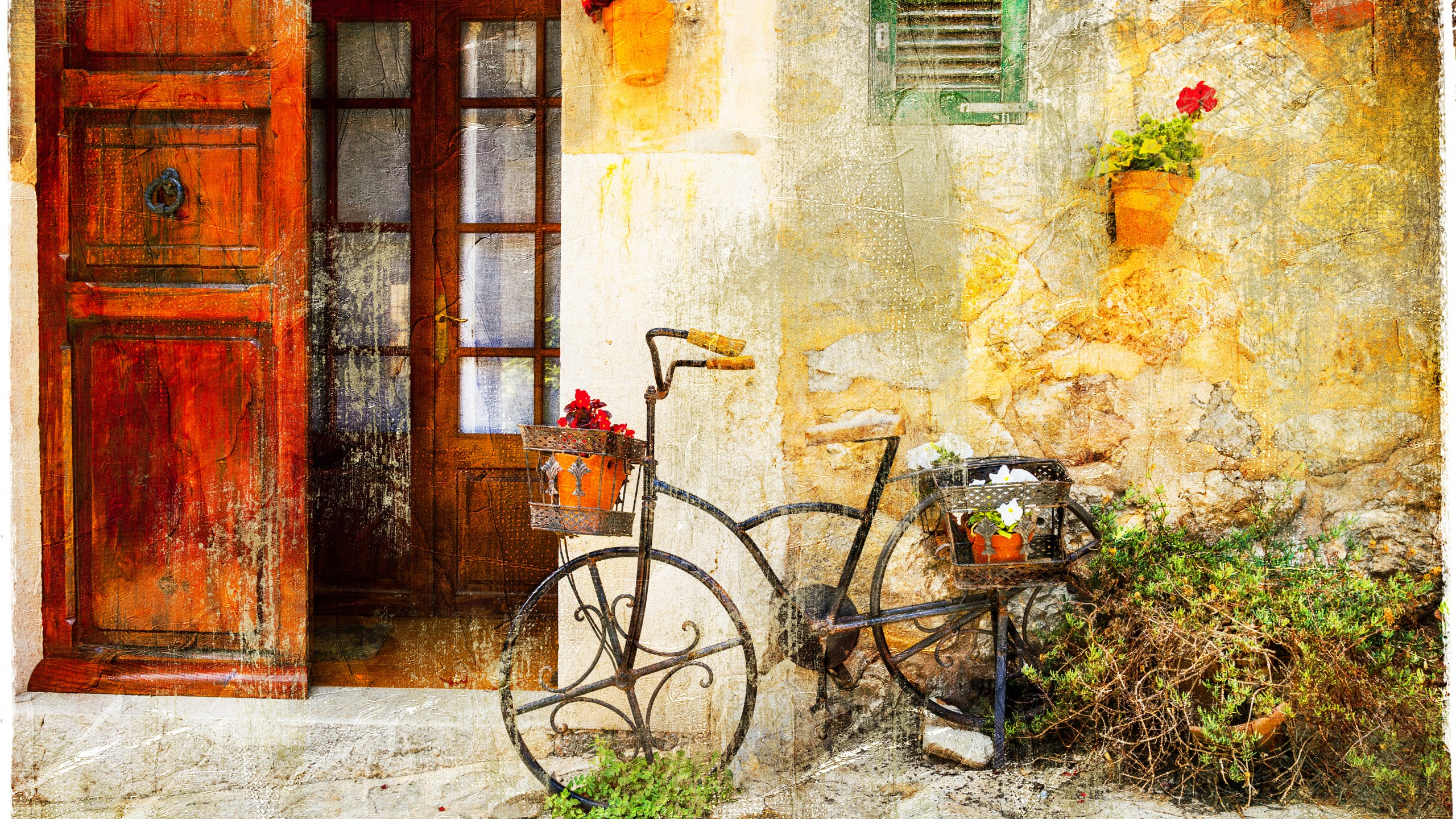 Wallpaper Bicycle Vintage Old House 8k Art 18730