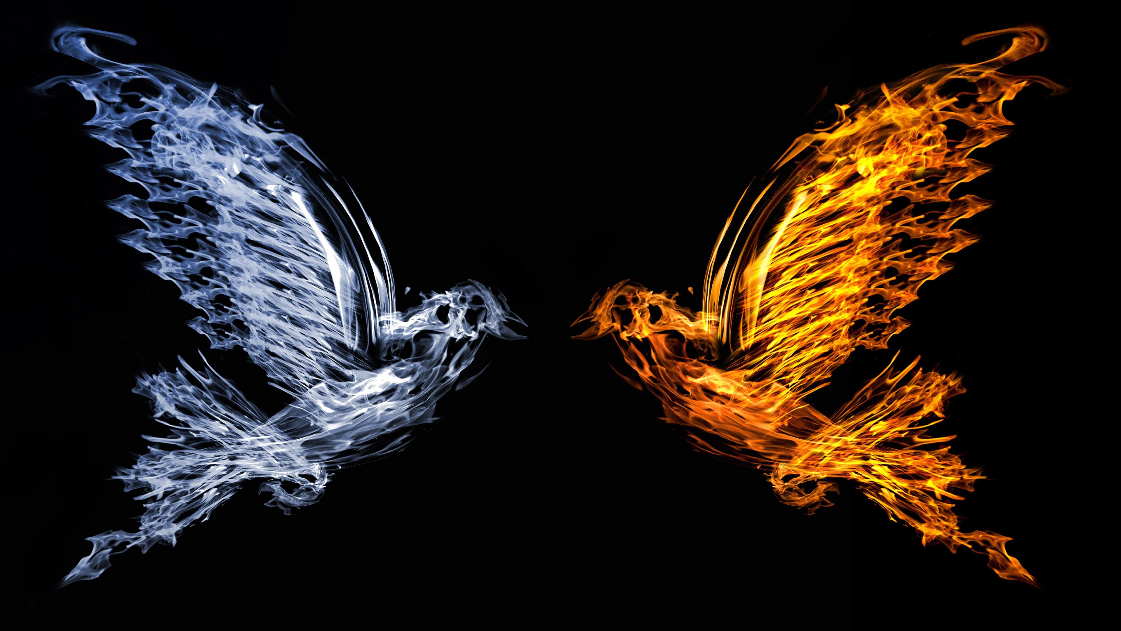 Wallpaper Bird 4k 5k Art Fire Water Abstract 11436