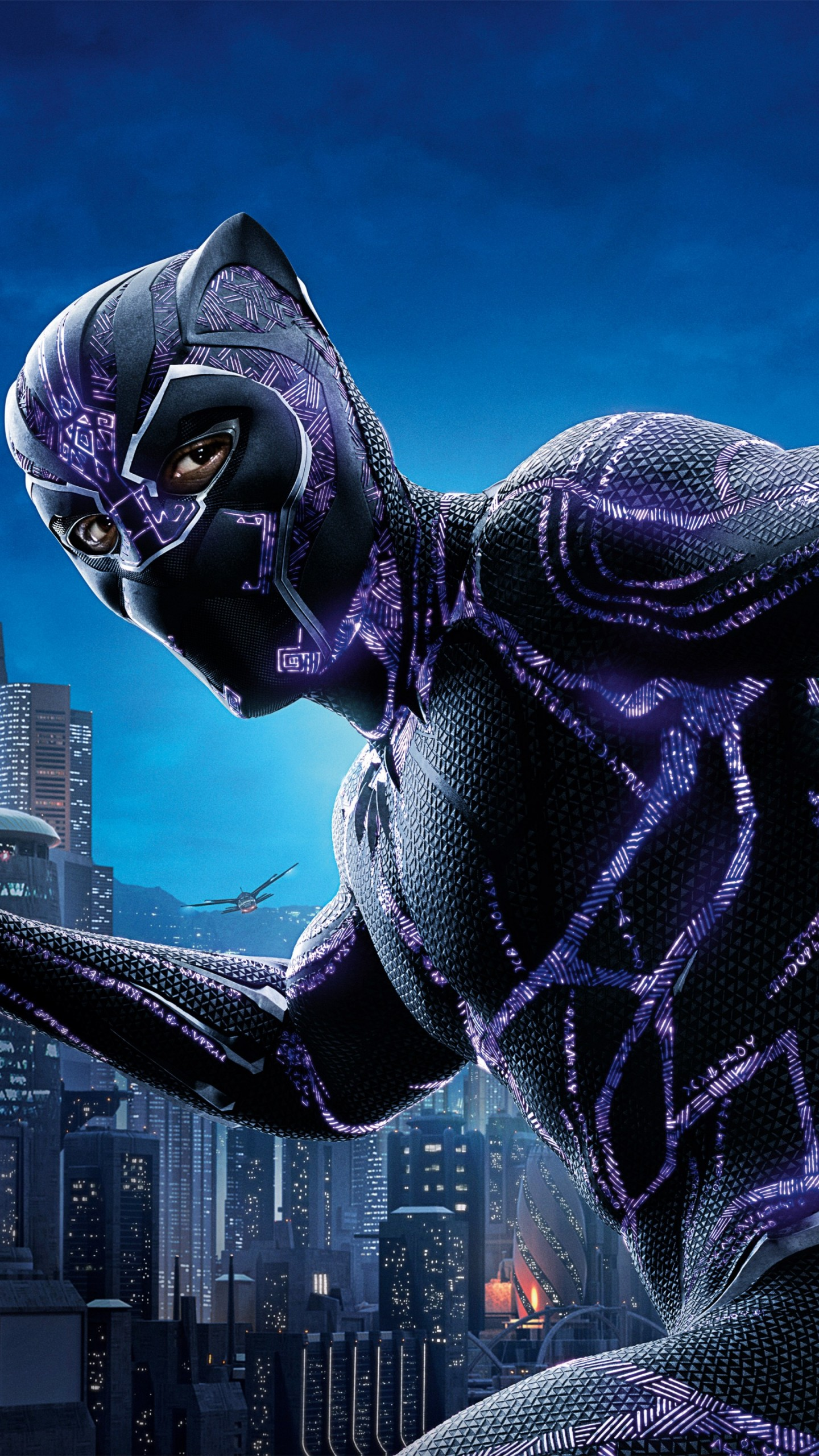 panther chadwick boseman wallpapers hd 4k night iphone 8k 5k mask cityscape buildings plus movies captain america resolution 2k 6s