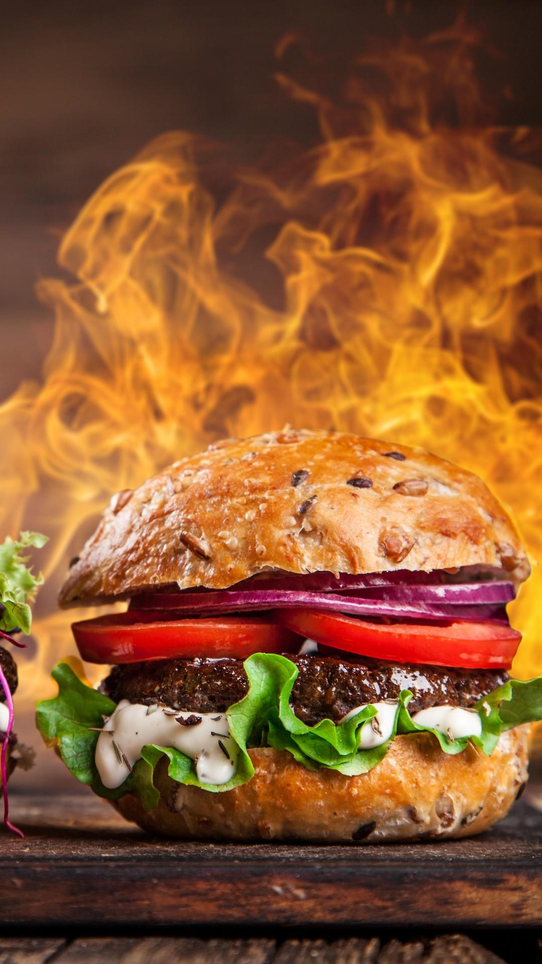Wallpaper Burger Steak Fire 5k Food 16604