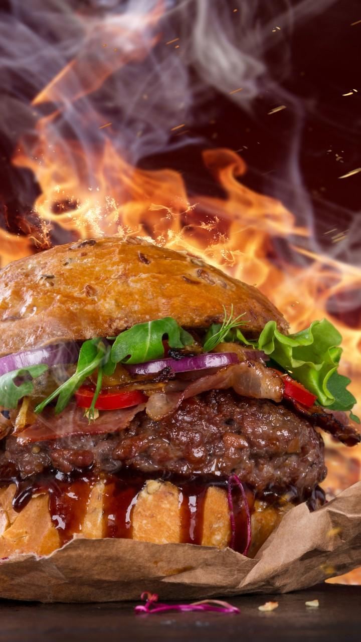 Wallpaper Burger Steak Fire Fast Food Pepper 5k Food