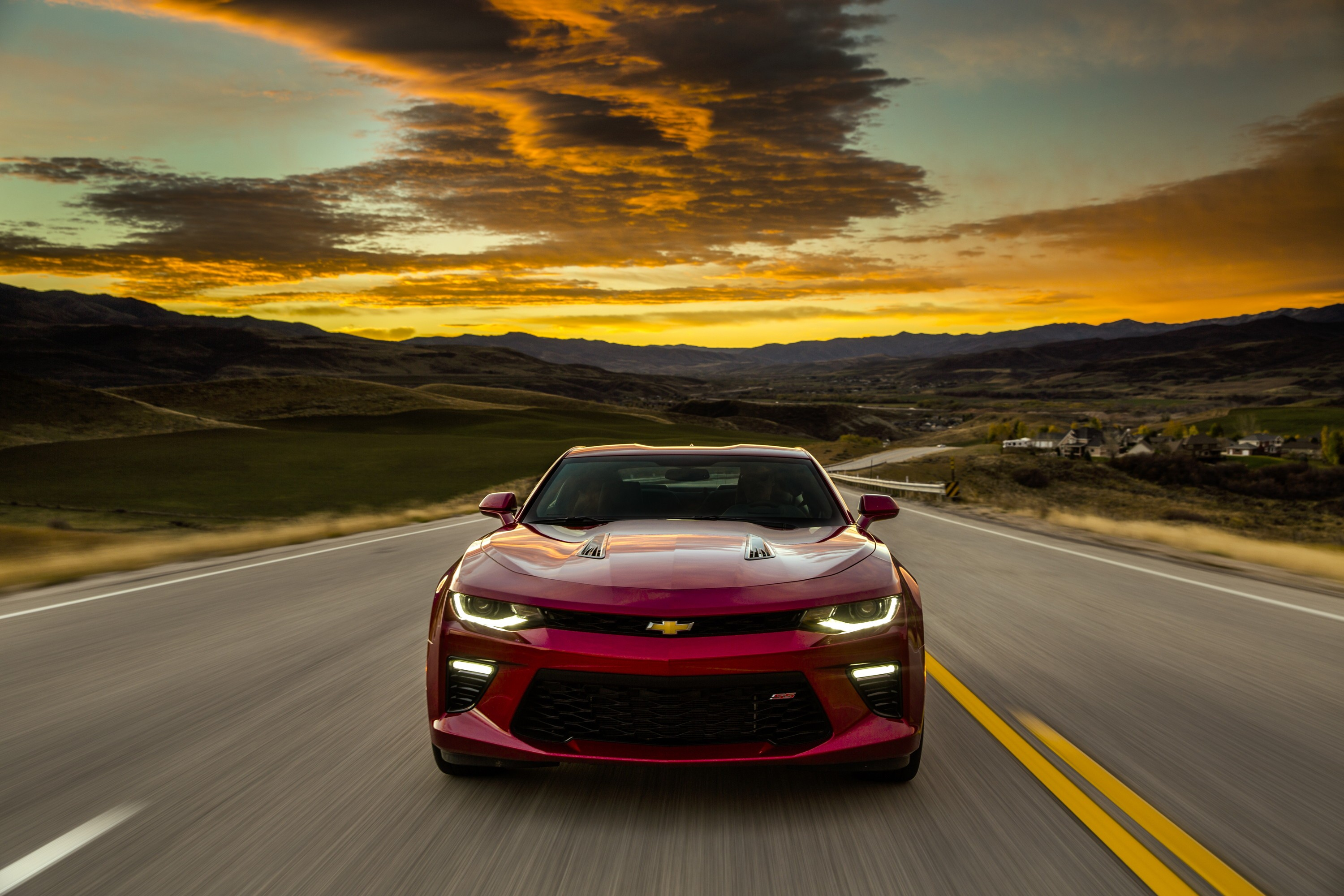 Wallpaper Chevrolet Camaro Europe Version Red Sunset Cars Bikes