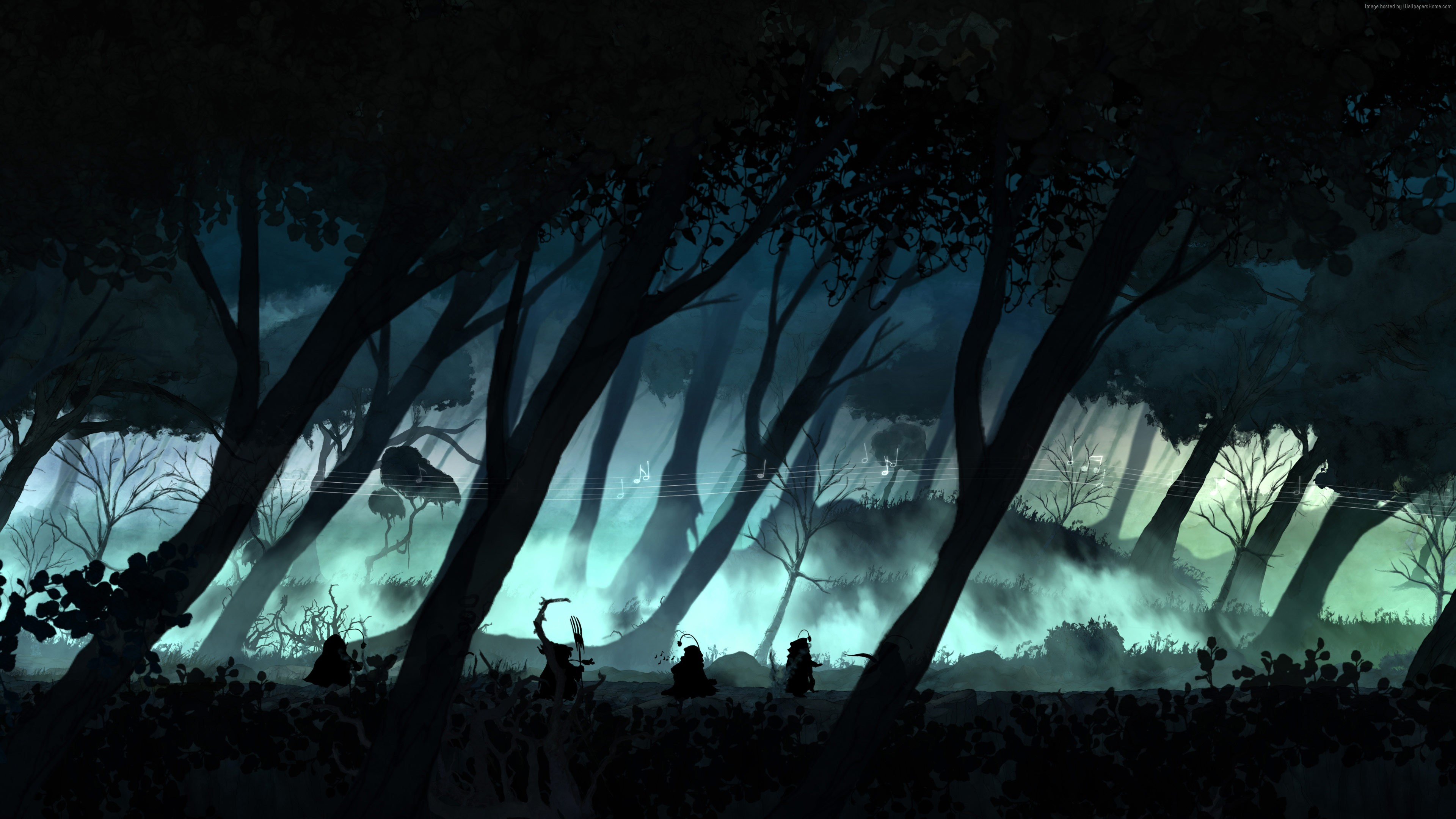 Child Of Light Xbox One Wallpaper Child of Light, game, rpg, forest, night, tree ...