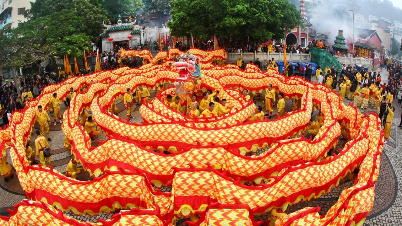Wallpaper Chinese New Year Spring Festival Dragon Orange