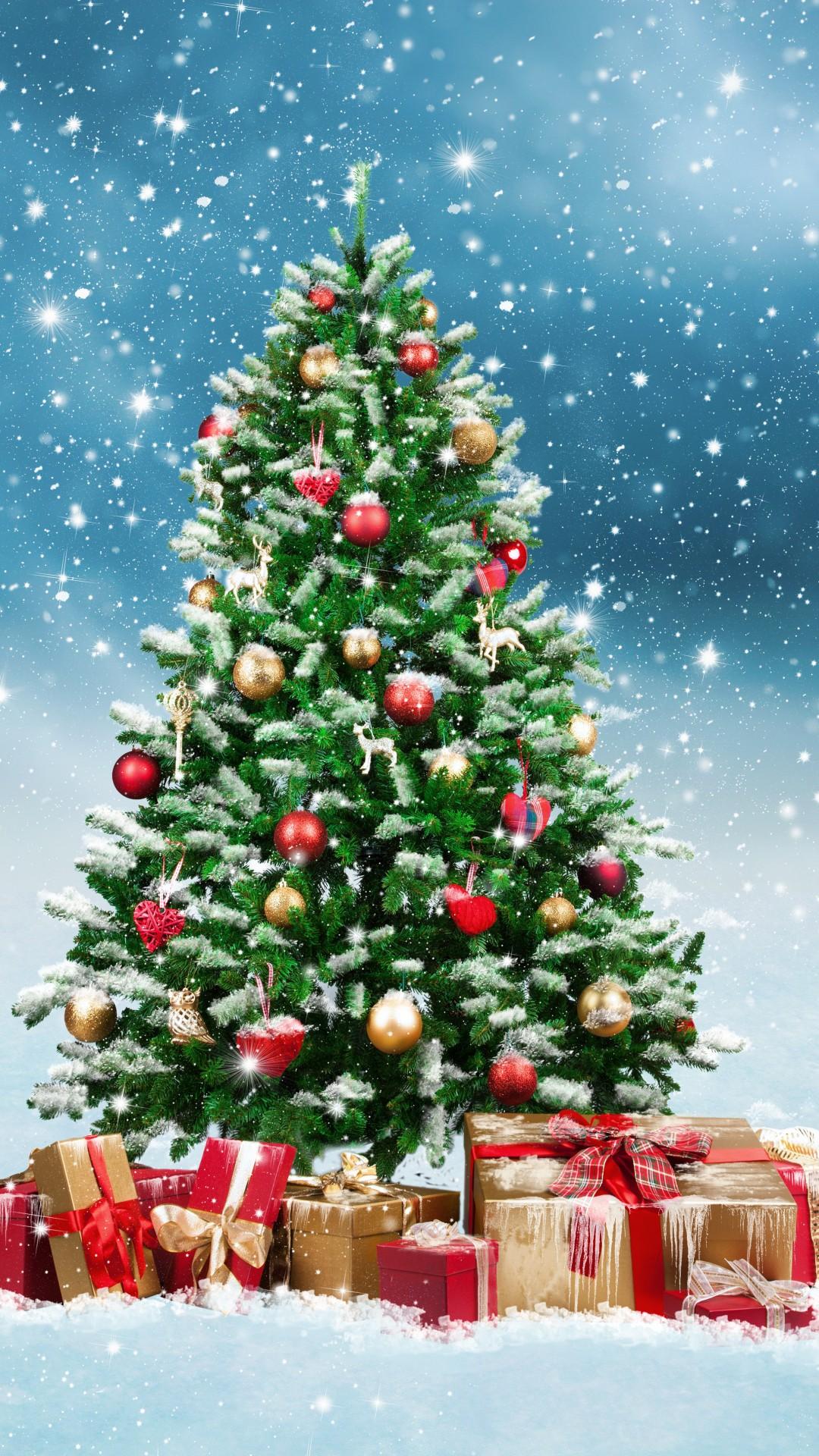 Wallpaper Christmas New Year Gifts Fir Tree Snow 5k