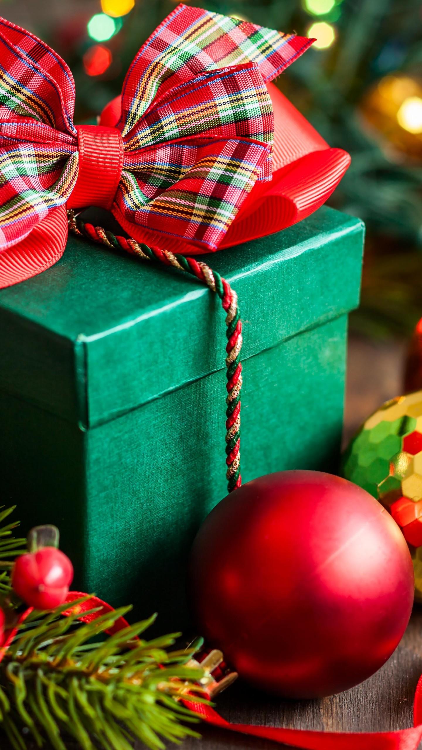 Wallpaper Christmas New Year Gift Box Balls Fir Tree