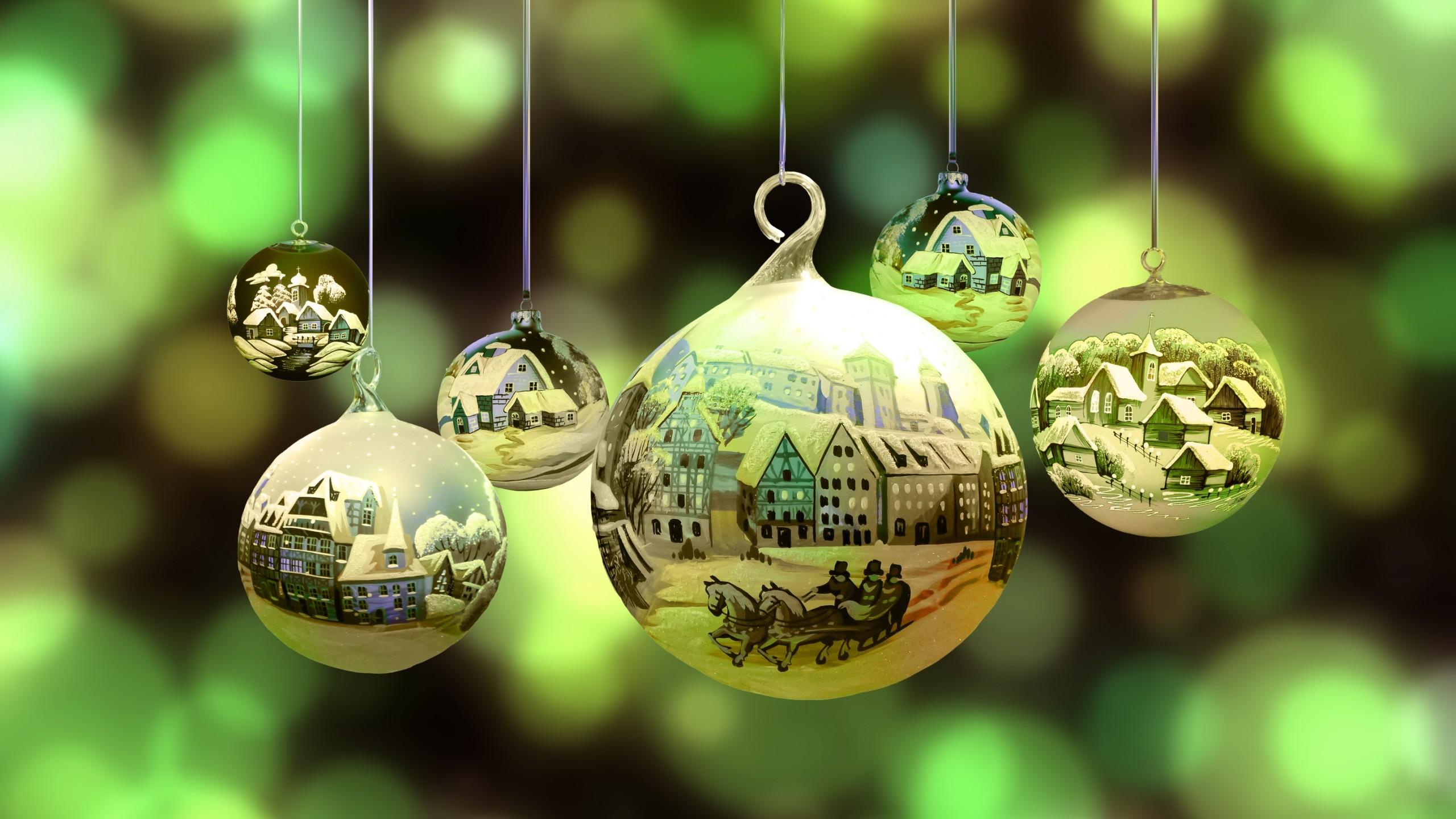 Wallpaper Christmas New Year Santa Balls Decorations Hd