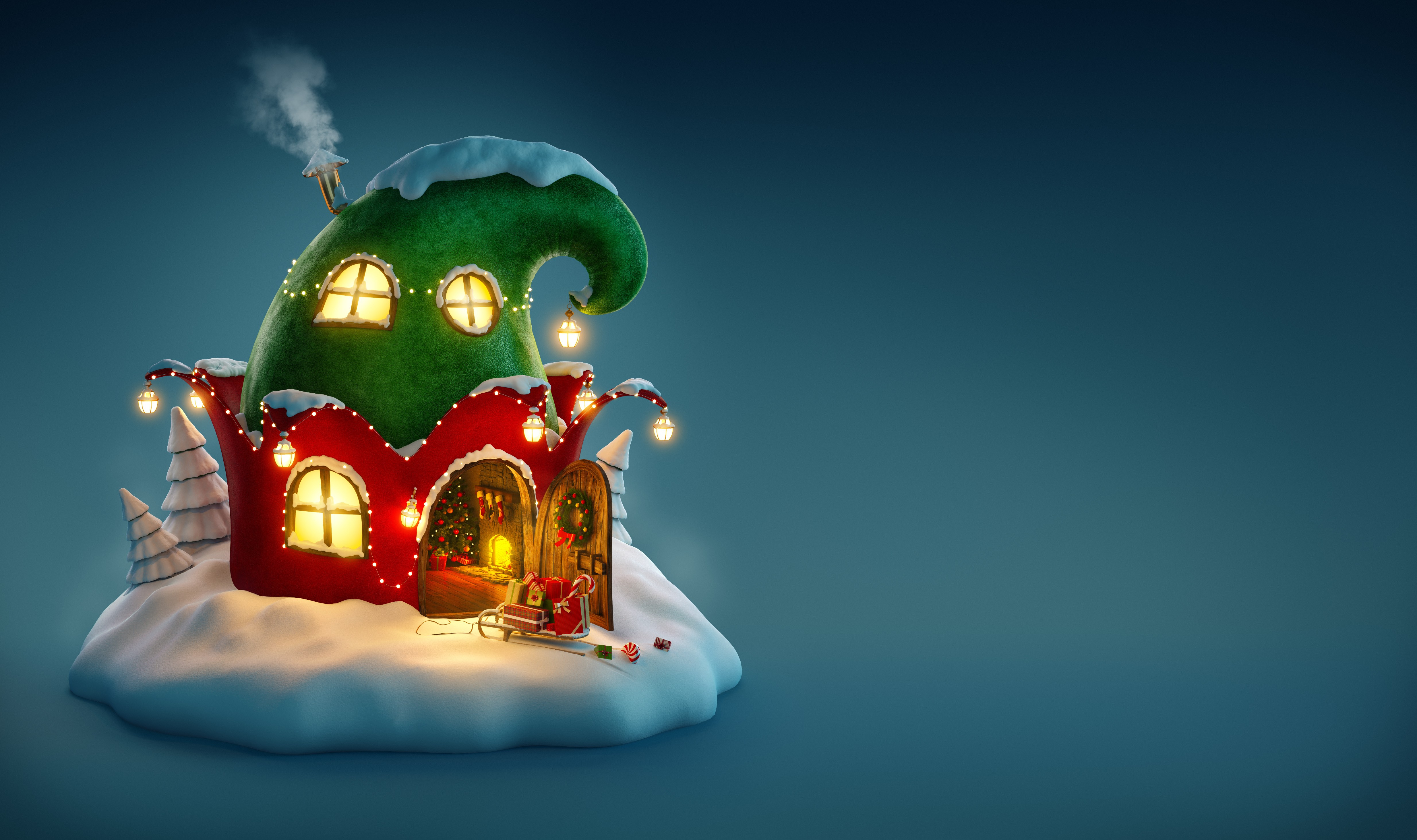 wallpaper christmas, new year, 2017, fairy house, holidays #12673