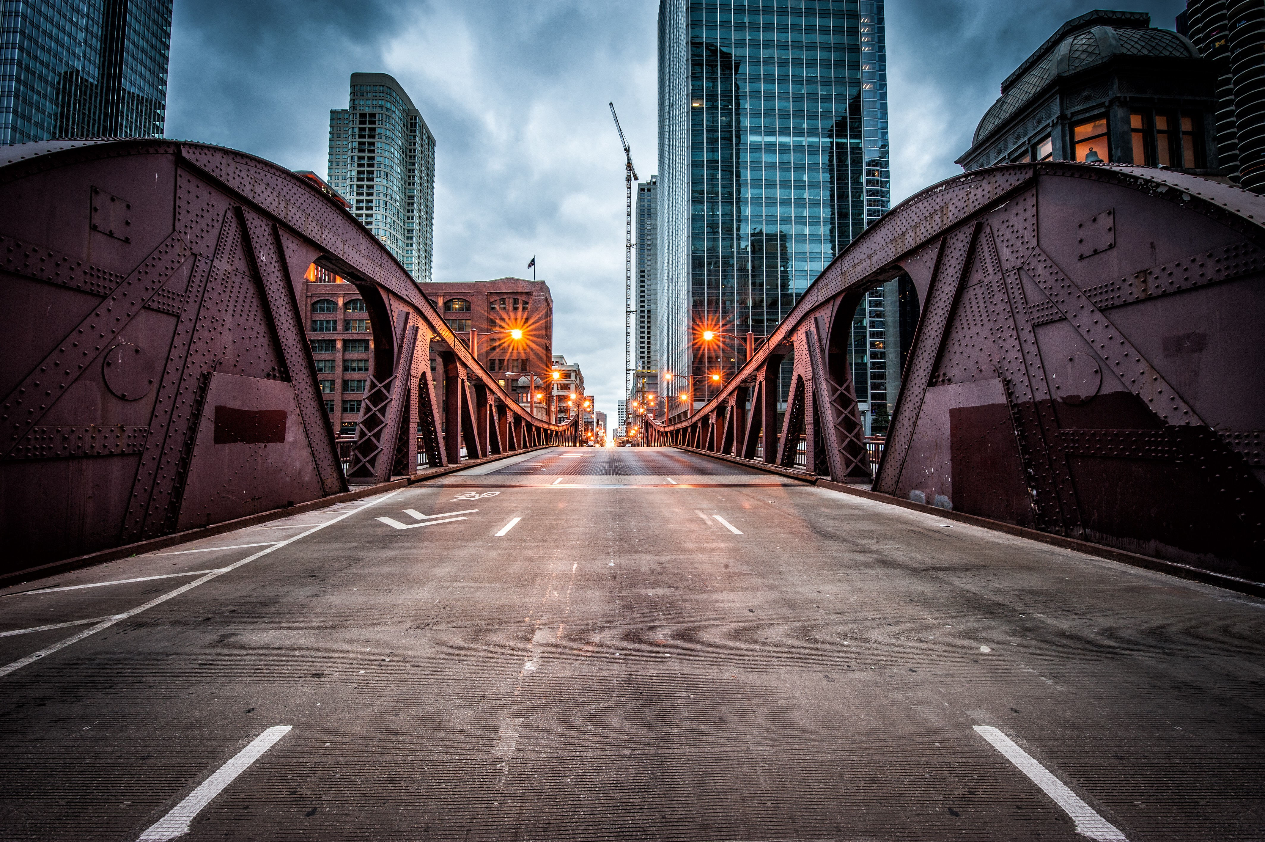Wallpaper Clark Street Bridge Chicago Usa Travel