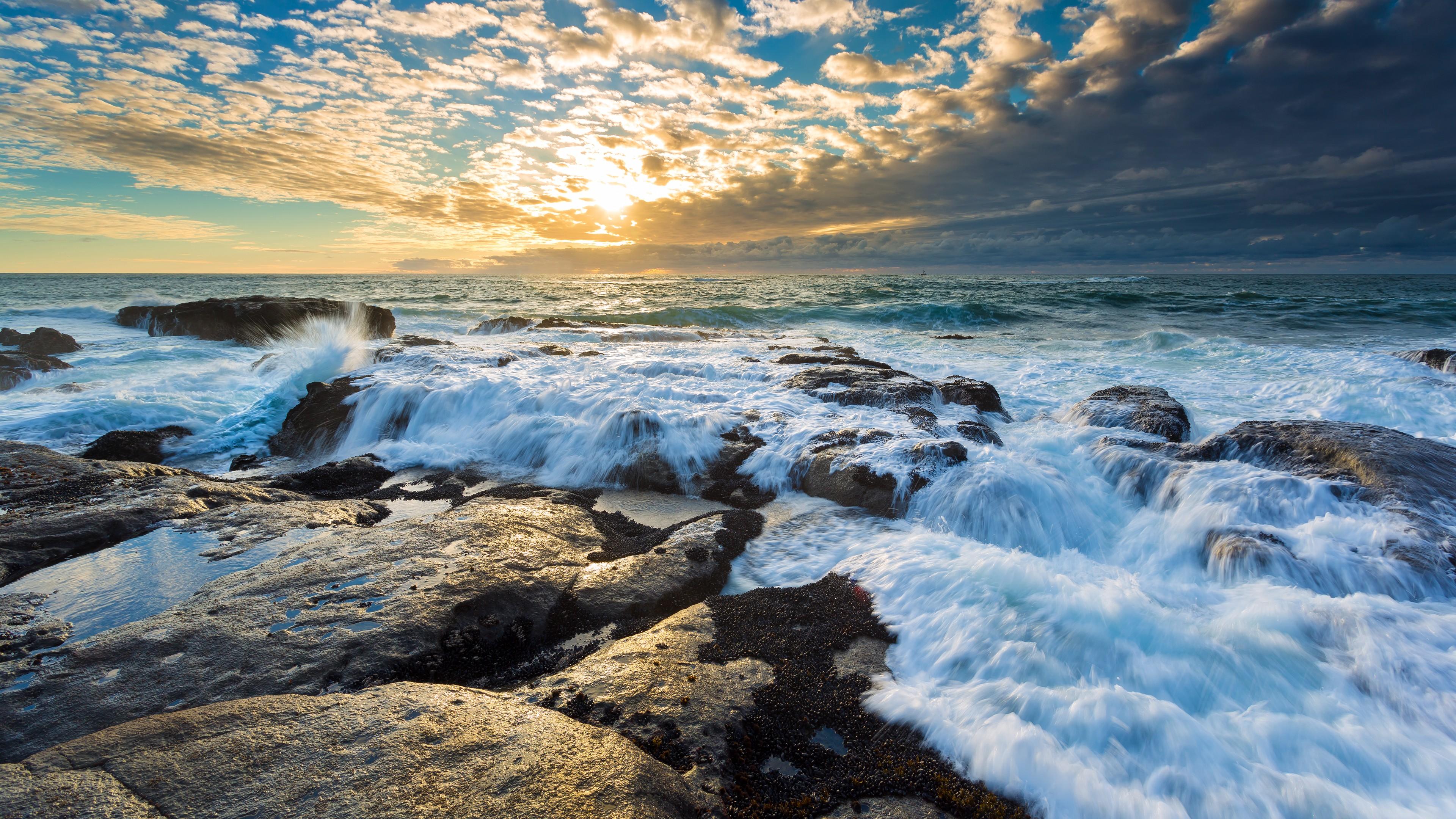 wallpaper clouds 4k hd wallpaper beach sunrise ocean