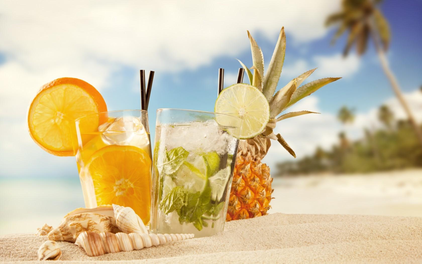 Wallpaper cocktails, ice, fruit, orange, pineapple, beach, summer ... for Pineapple Wallpaper Beach  165jwn