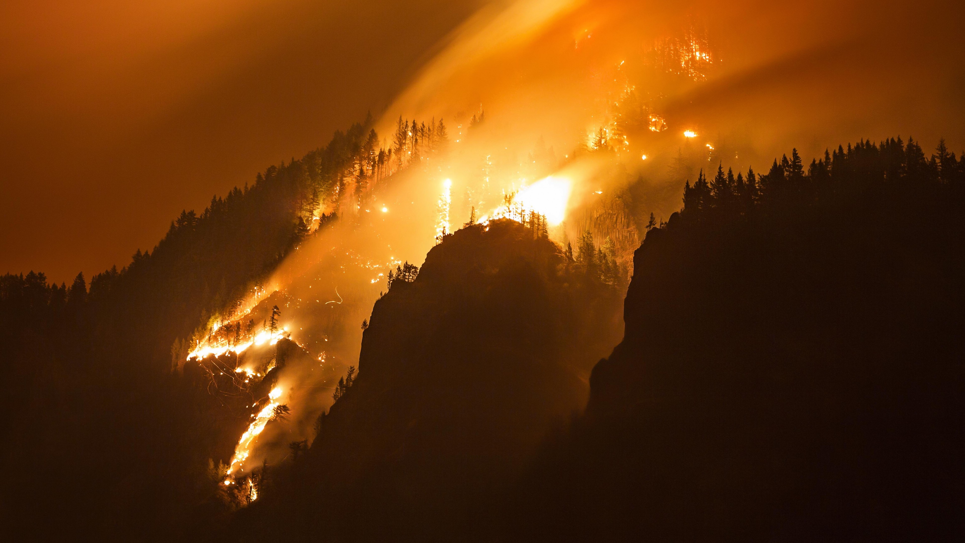 Wallpaper Columbia Gorge Forest Fire 4k Nature 15665