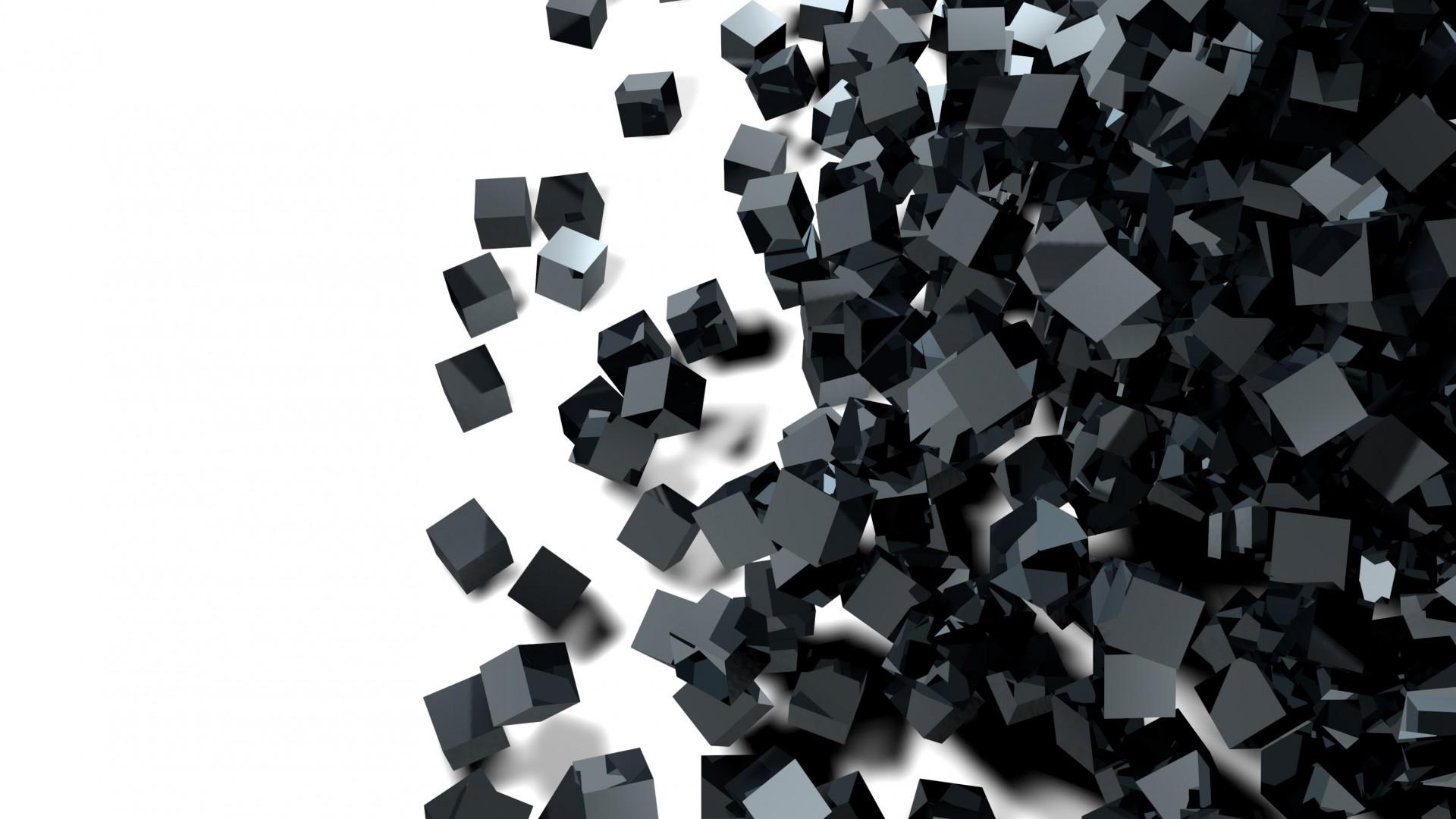 Wallpaper cube glass black 3D 4K Abstract