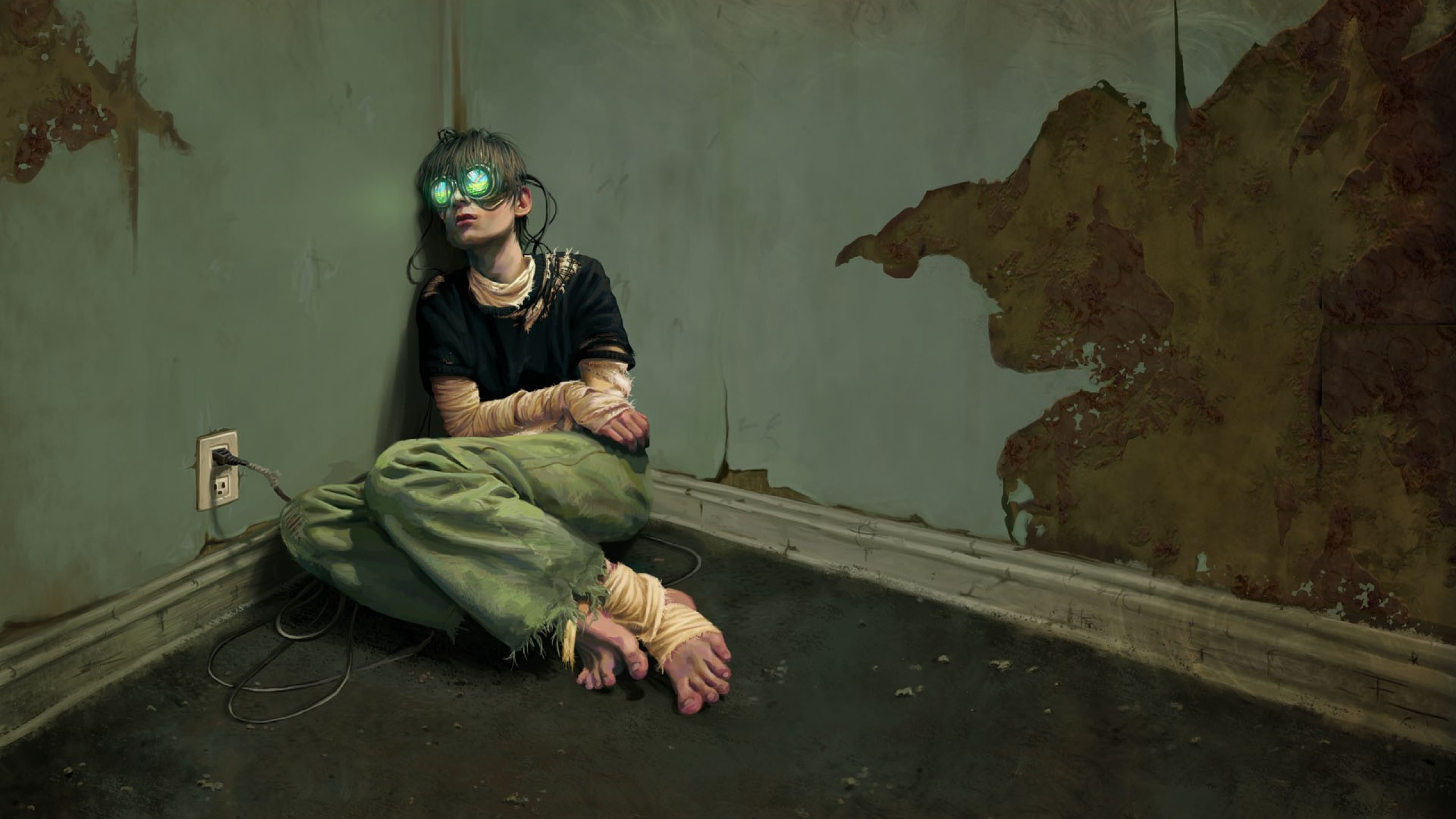 Wallpaper cyberpunk virtual reality glass addict room art 395 original resolution 2560x1440 voltagebd Choice Image
