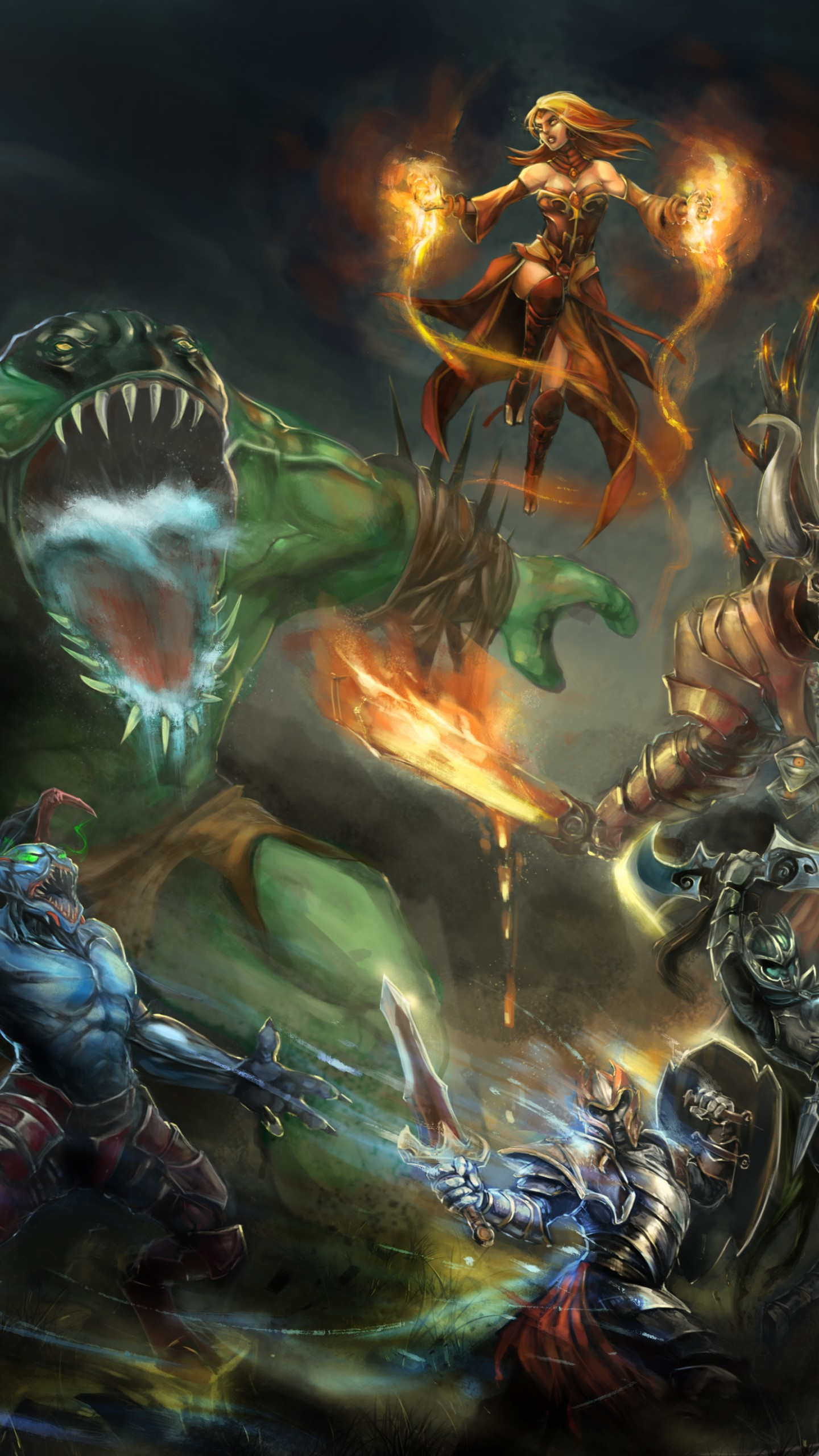 fire in the sky_Wallpaper Dota 2, game, characters, hero, monster, fantasy, art, fire, ice, Magic ...