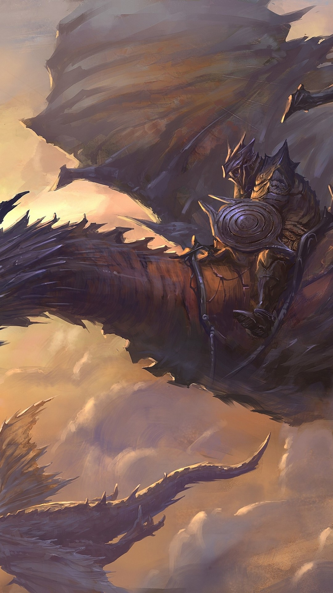 Wallpaper Dragon, sky, clouds, rider, armor, art, wings