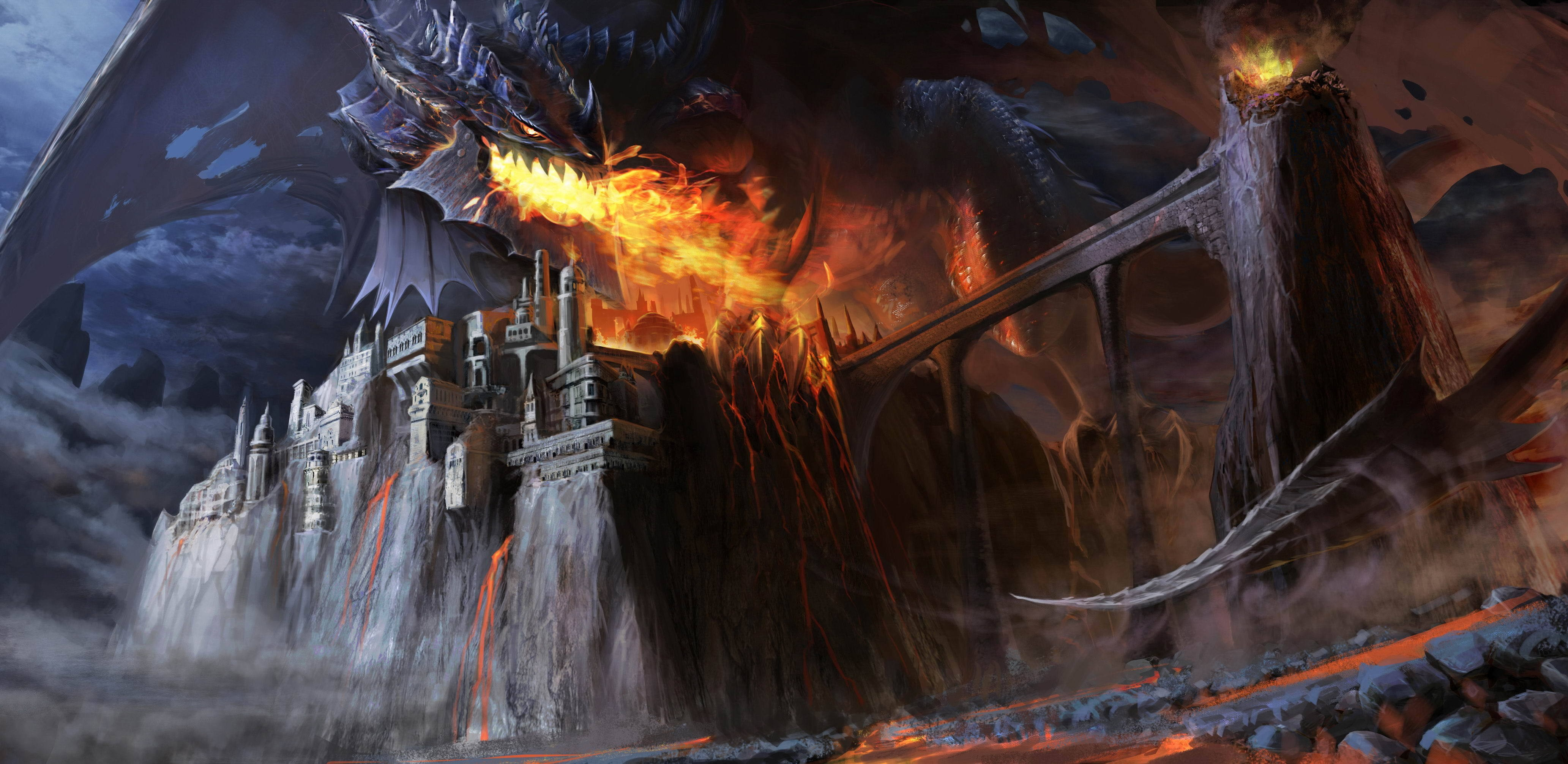 Wallpaper Dragon Black Fire Castle Bridge Lava Smoke