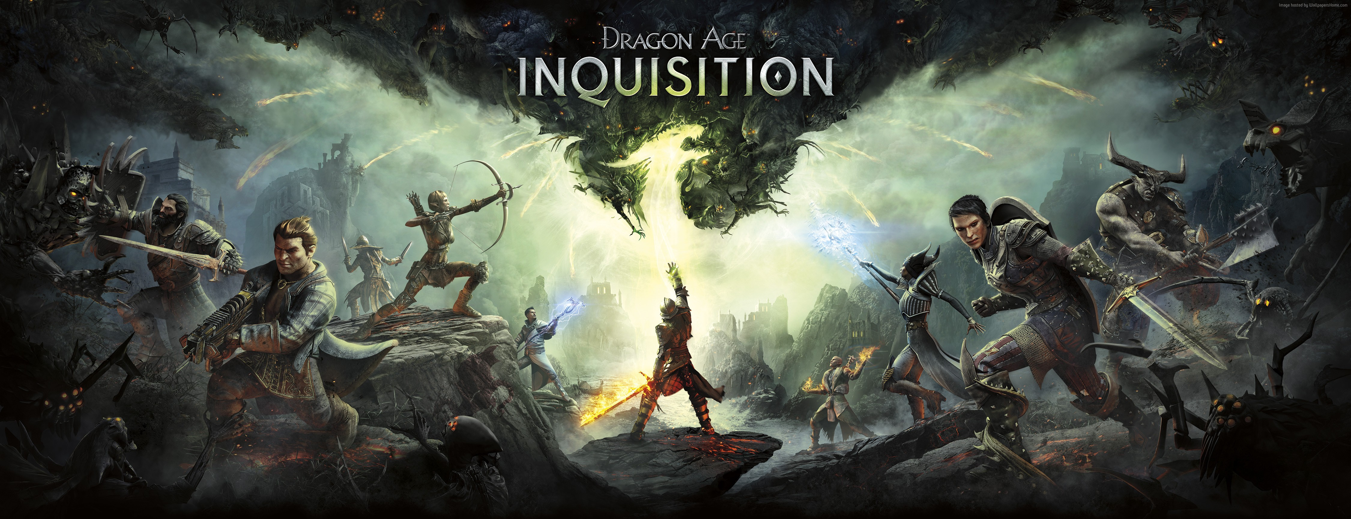 wallpaper dragon age: inquisition, game, rpg, fantasy, green light