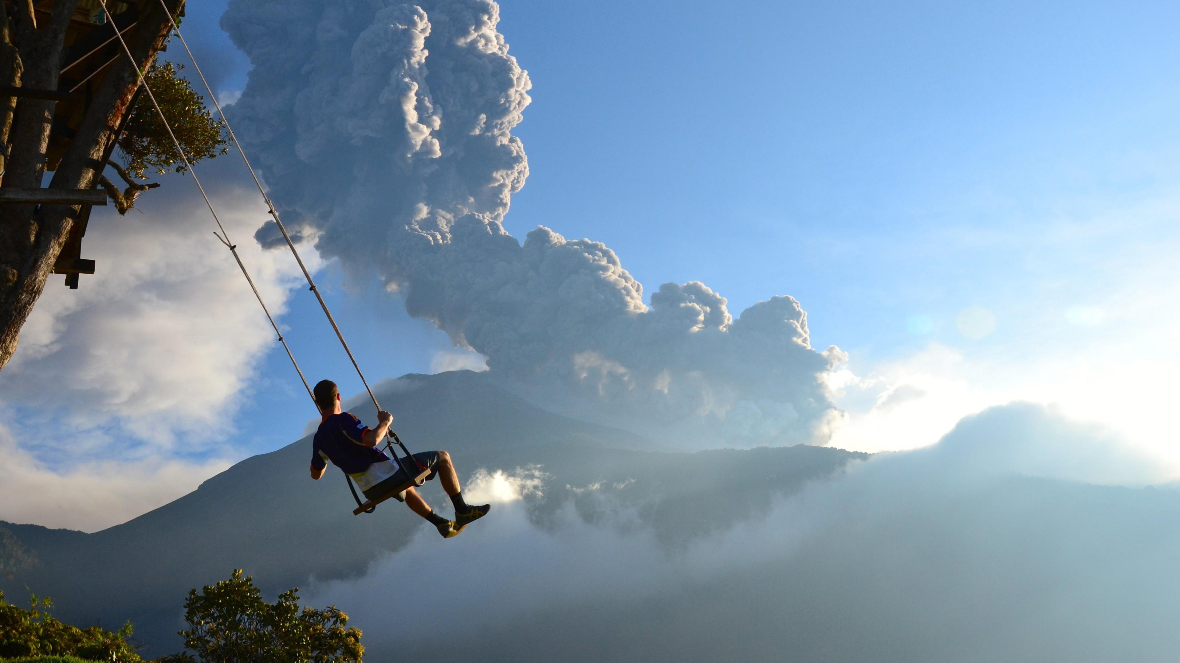 Wallpaper End Of The World 5k 4k Wallpaper Volcano Swing Man