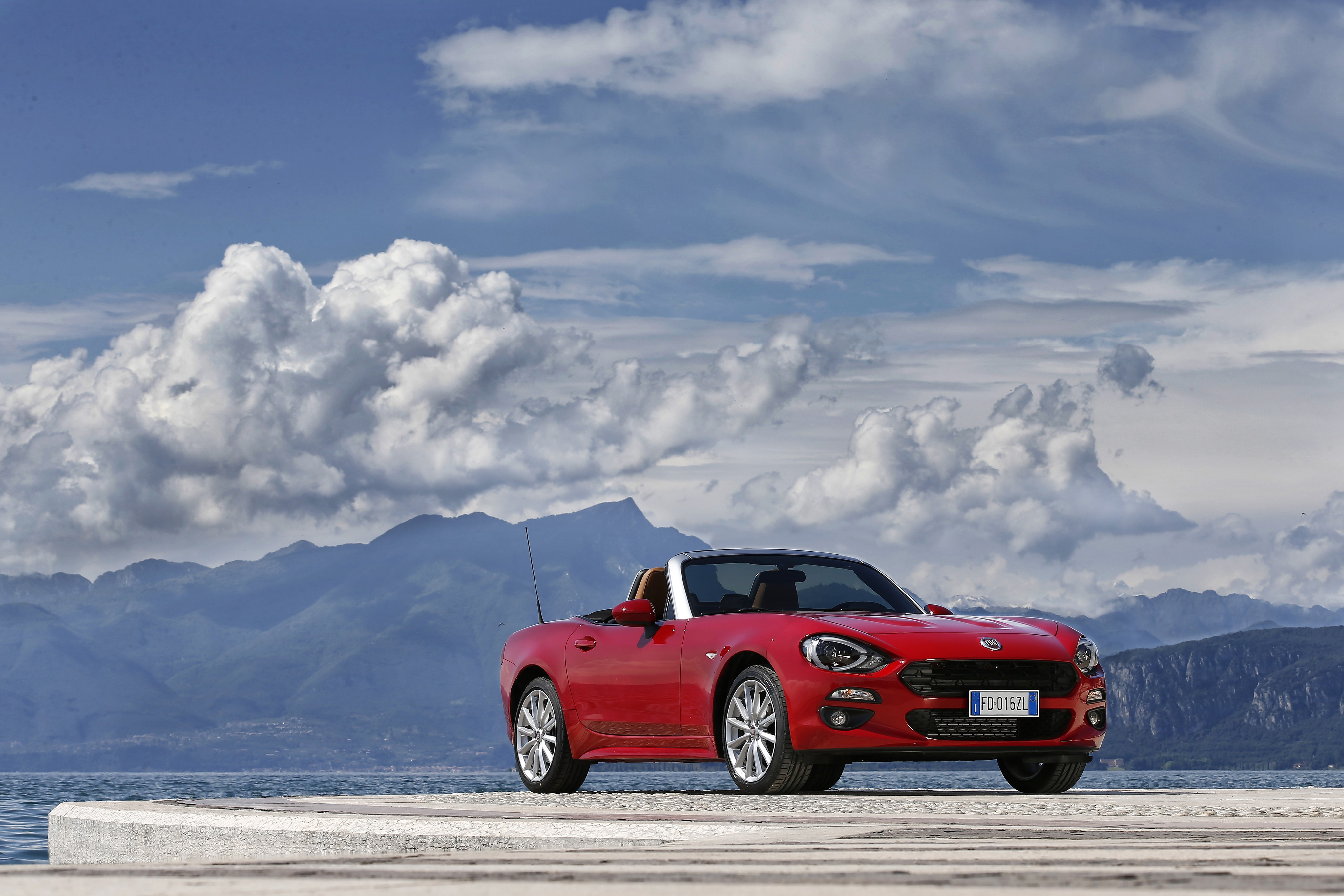 Wallpaper Fiat 124 Spider Roadster Red Snow Clouds