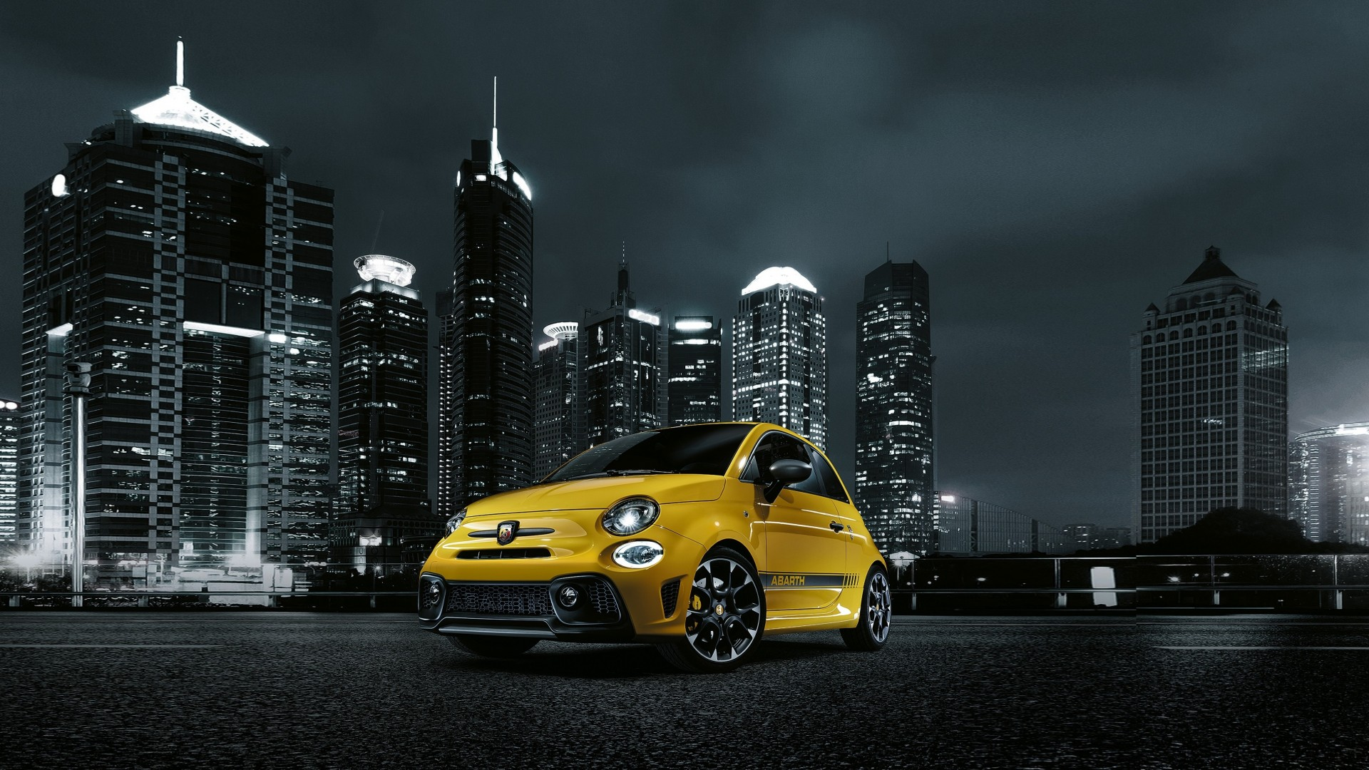 Wallpaper Fiat Abarth 595 Facelift Hatchback Night Town