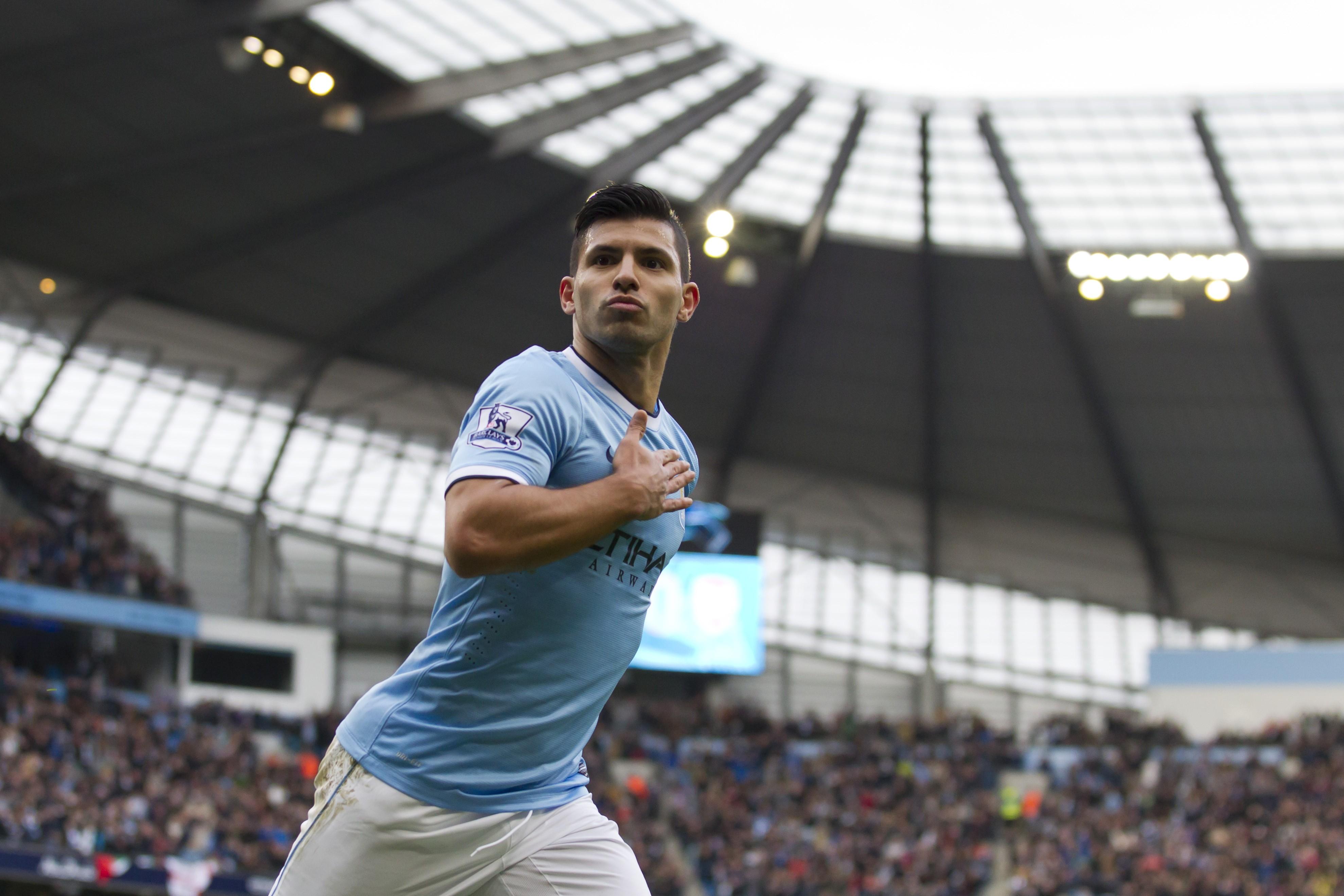 Wallpaper Football, Sergio Aguero, soccer, The best players 2015, FIFA, Manchester City, Striker ...