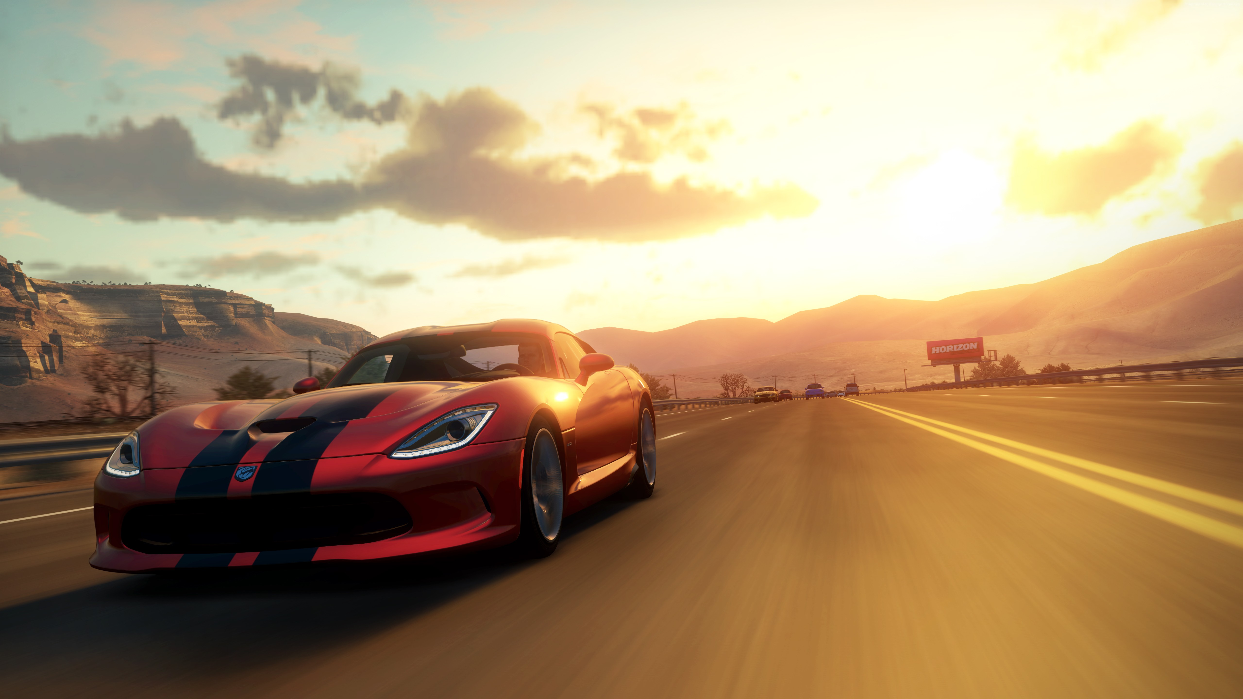 wallpaper forza horizon, 5k, 4k wallpaper, game, car, red, sunset