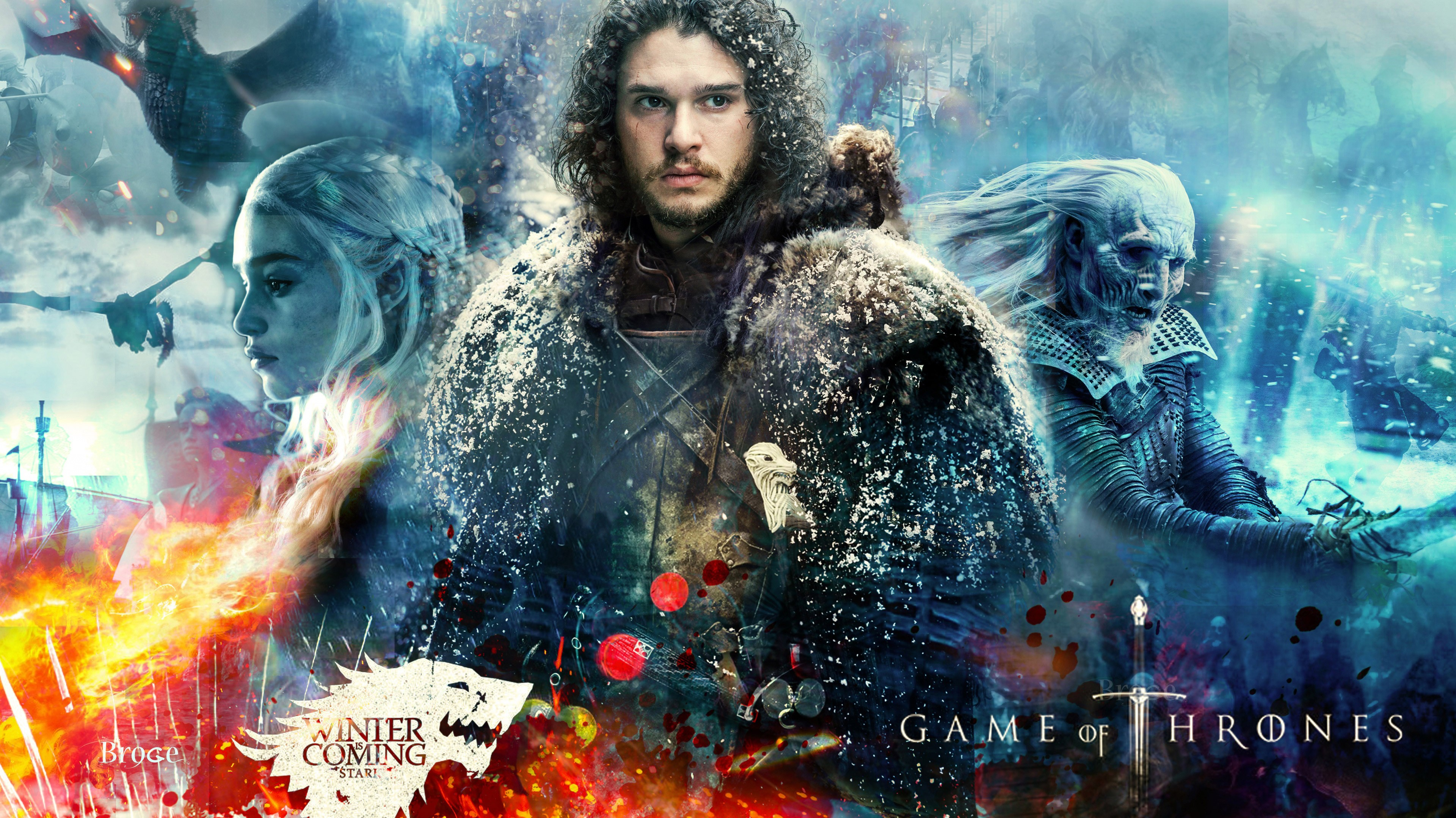 Wallpaper Game Of Thrones Season 7 Jon Snow Daenerys Targaryen