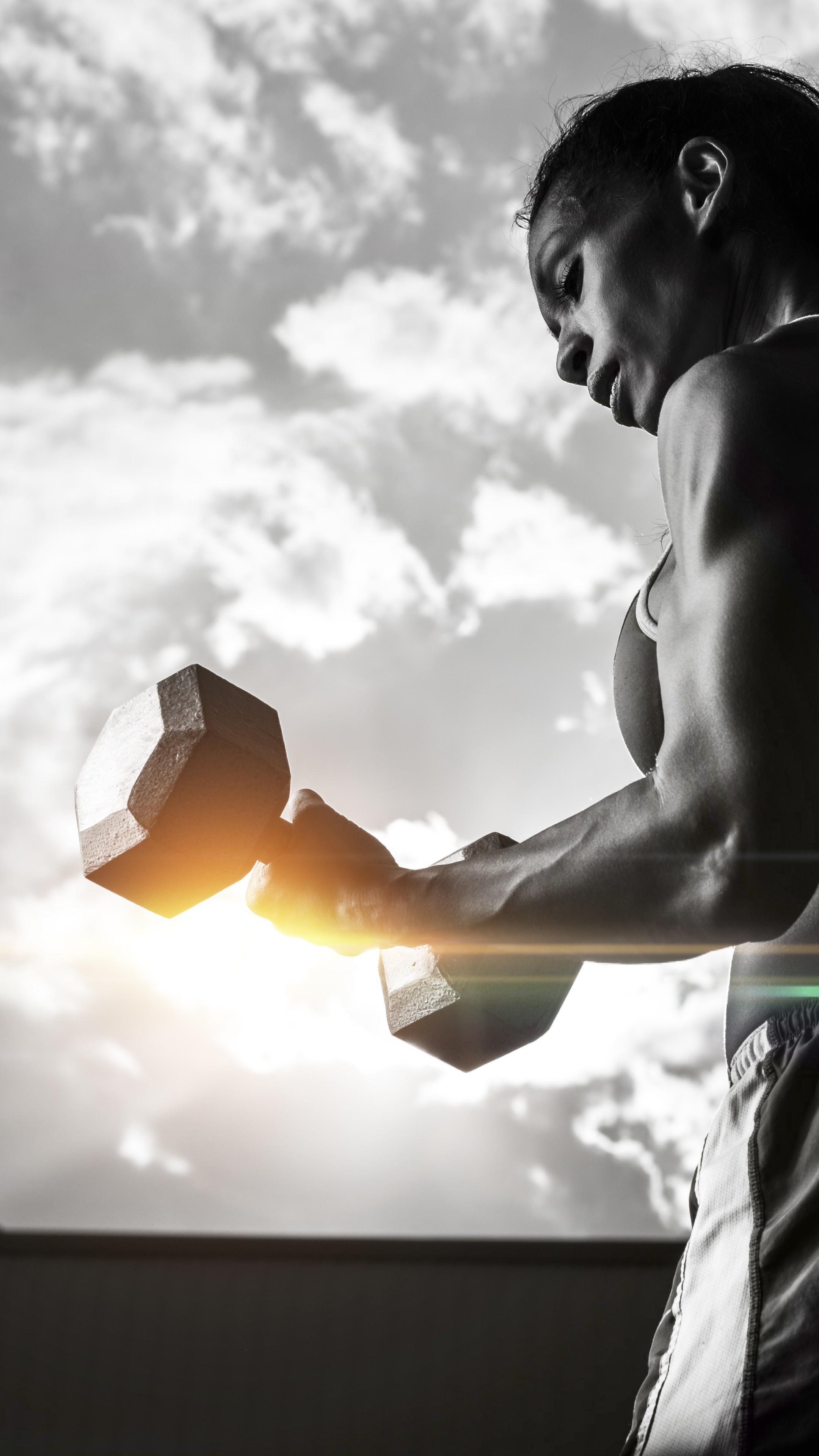Wallpaper Girl Fitness Exercise Gym Dumbbells Workout