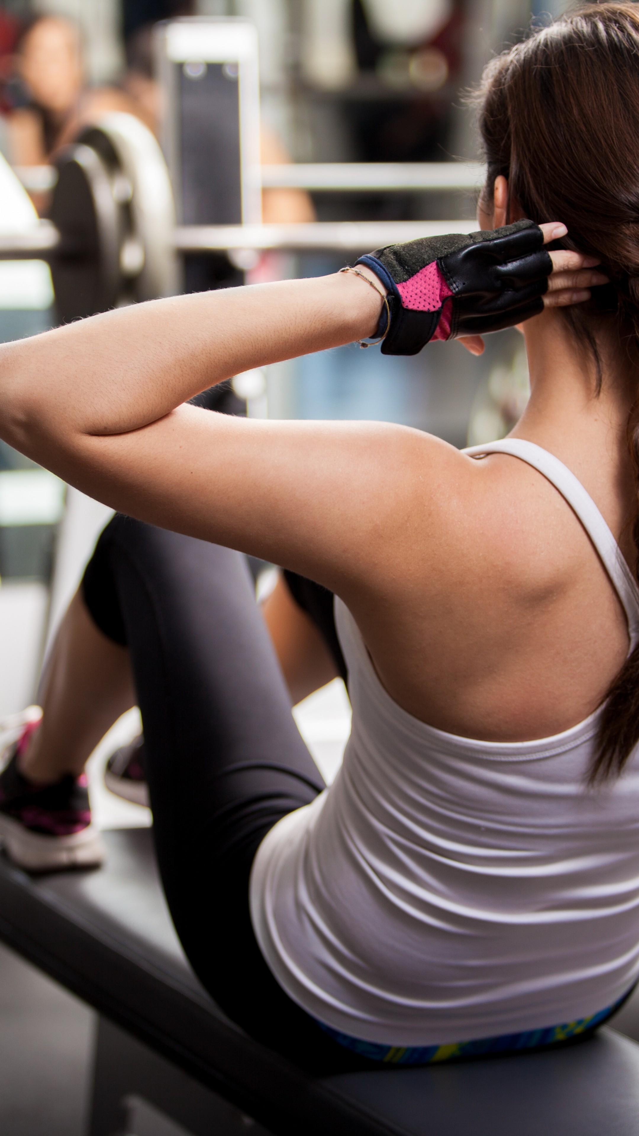 Wallpaper Girl, fitness, exercise, gym, dumbbells, workout