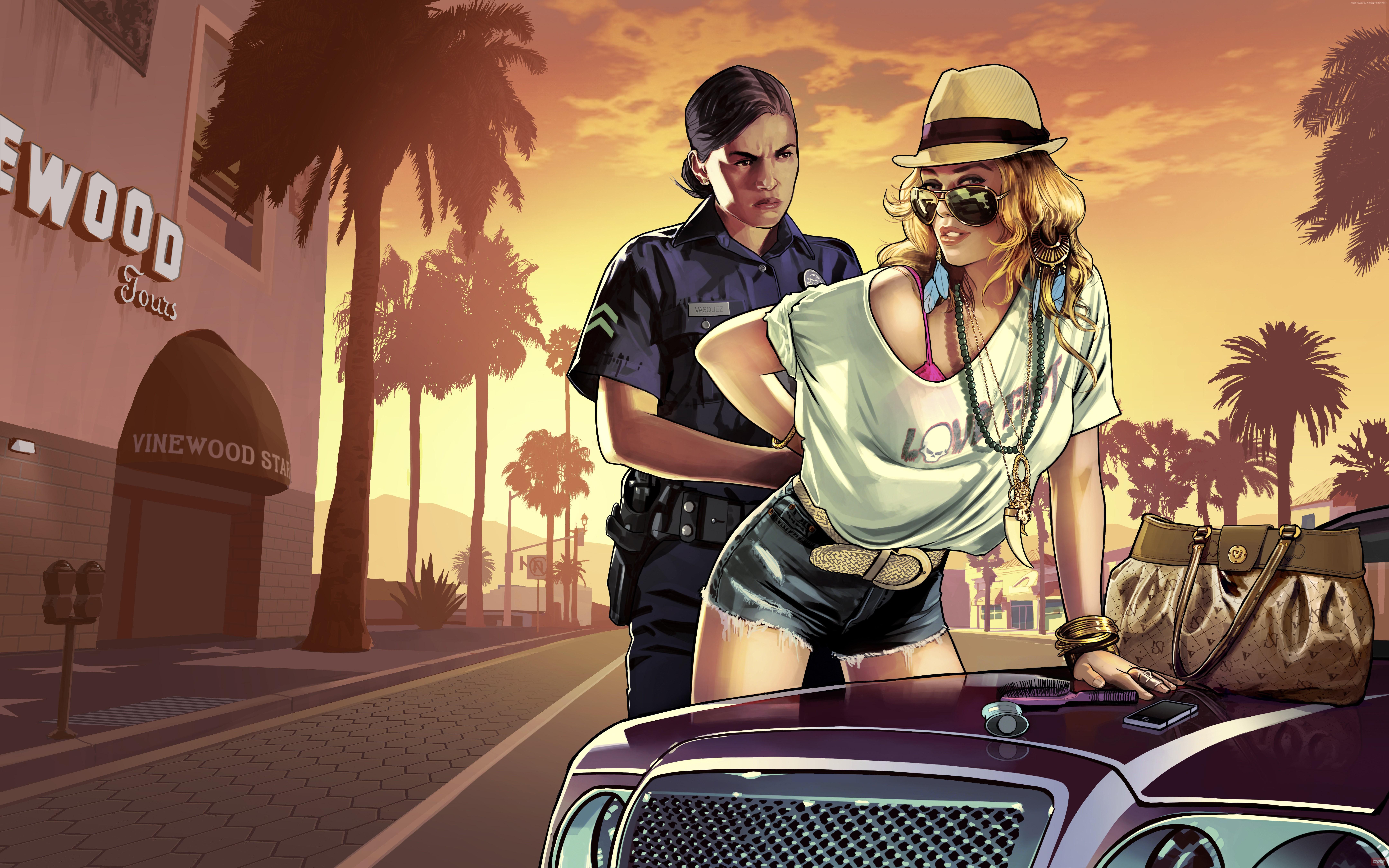 Wallpaper GTA 5 GTA V Grand Theft Auto game police blonde
