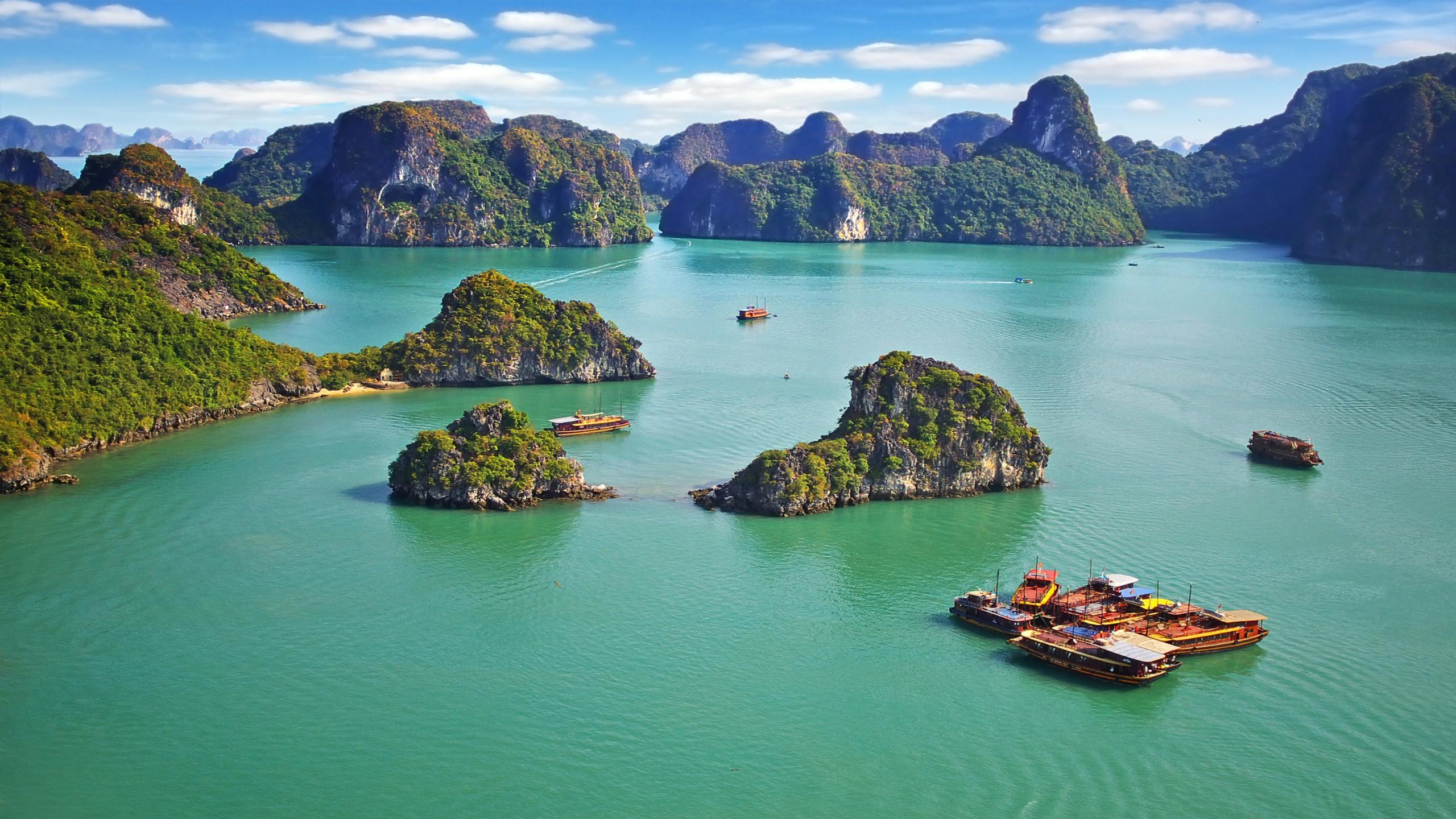Wallpaper Ha Long Bay Vietnam mountains sea 8k Nature